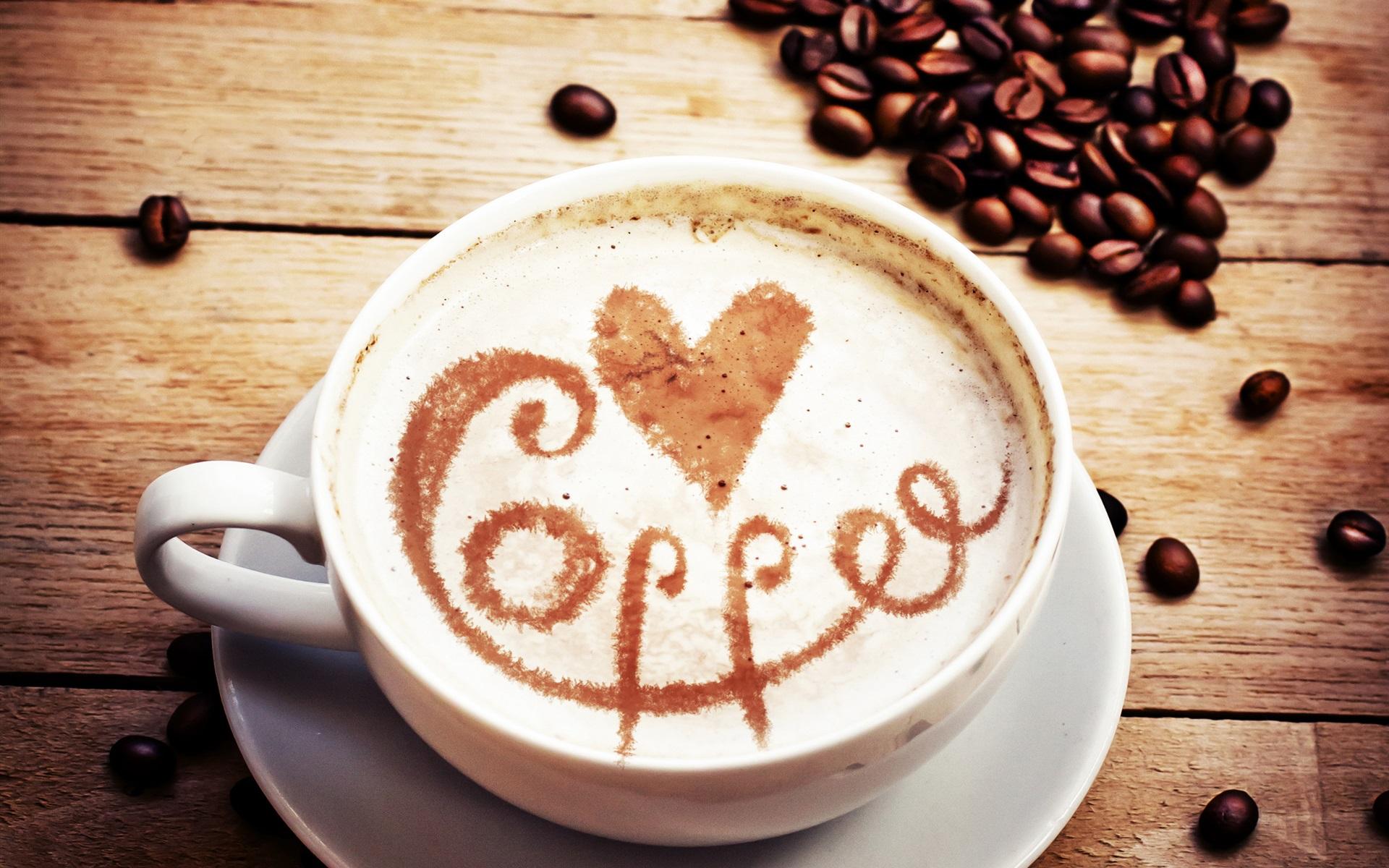 壁紙 カプチーノ、コーヒー、豆、愛の心 2560x1920 HD 無料のデスクトップの背景, 画像