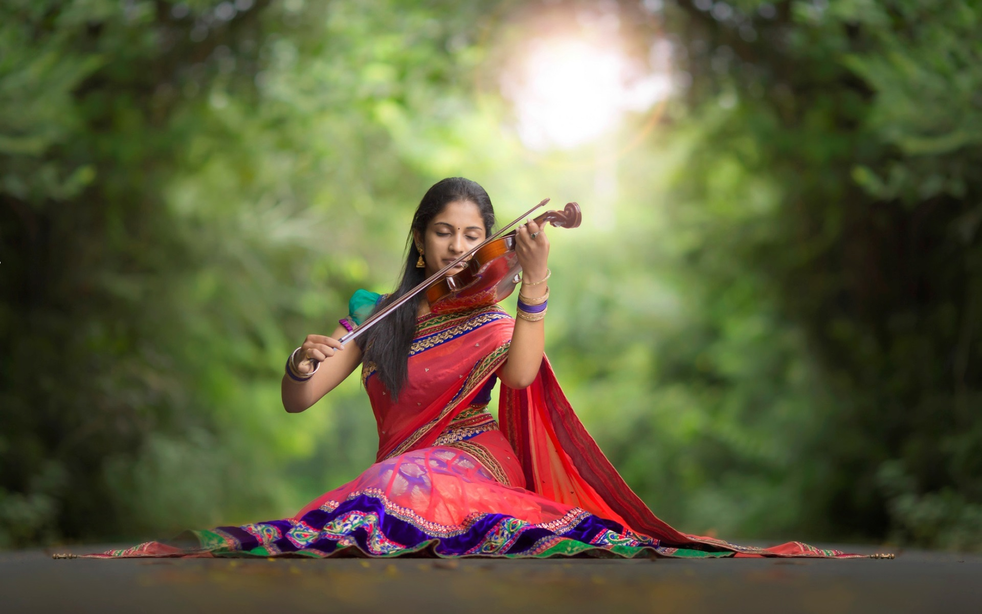 wallpaper indian girl, violin, music, road 1920x1200 hd picture, image