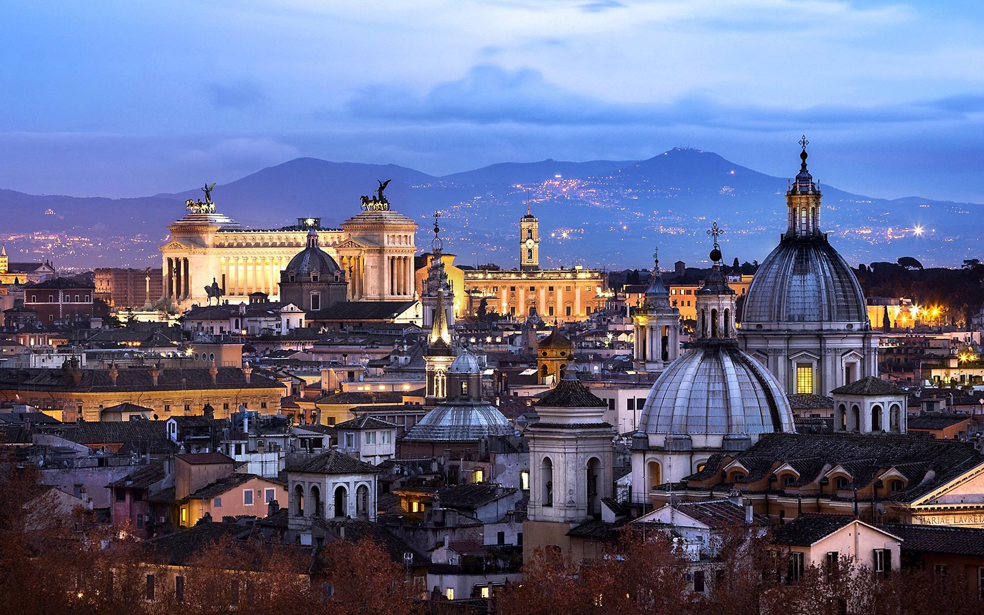 意大利�9��9櫺g�_桌布 罗马,意大利,建筑,城市,晚上,房子,灯