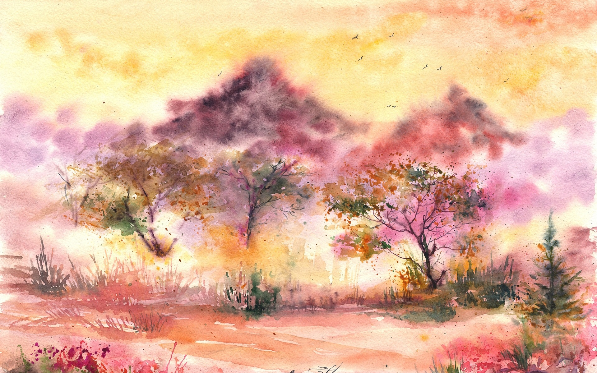 Wallpaper Watercolor Painting Landscape Trees Birds Leaves