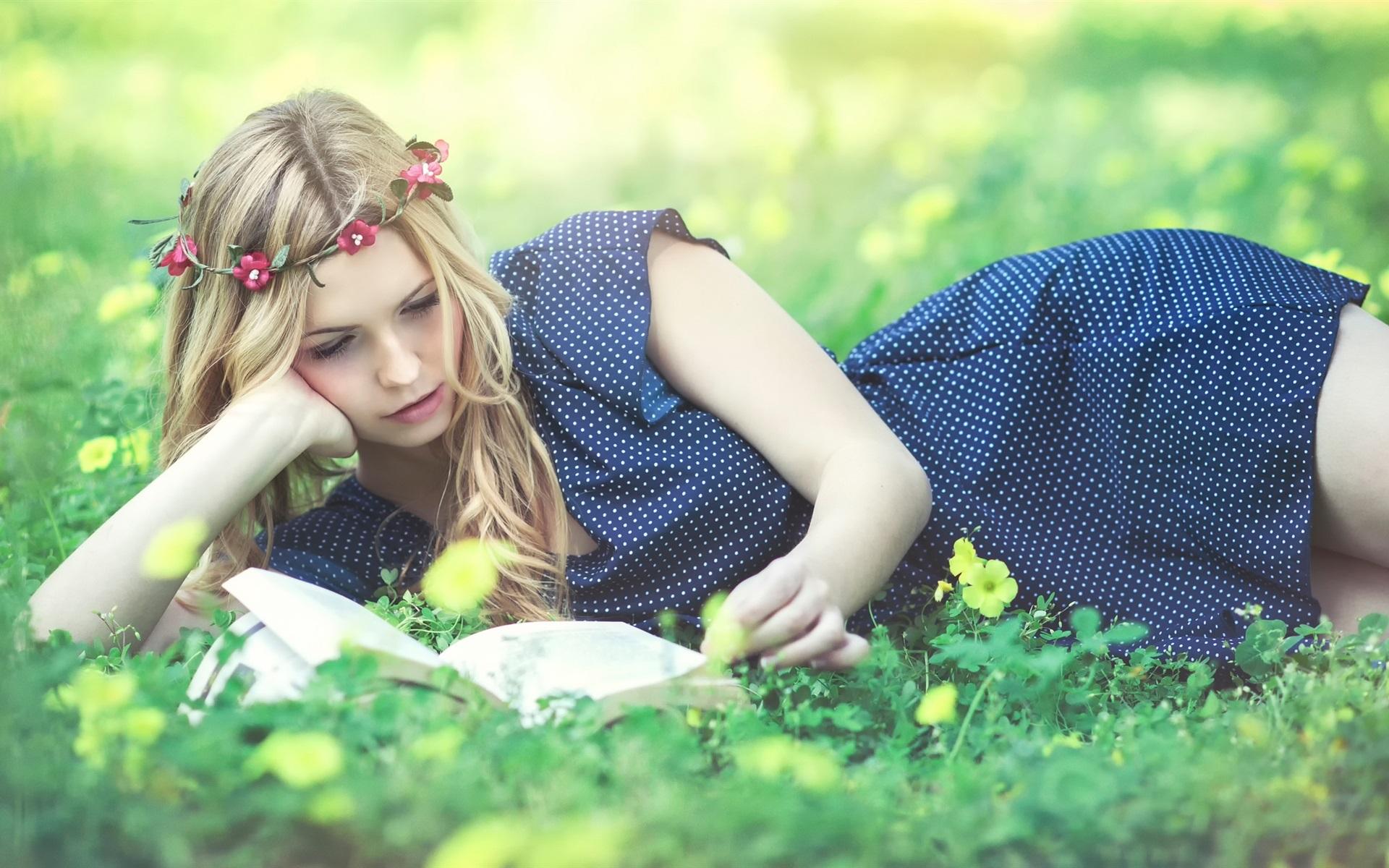 beautiful read book wreath grass flowers wallpaper