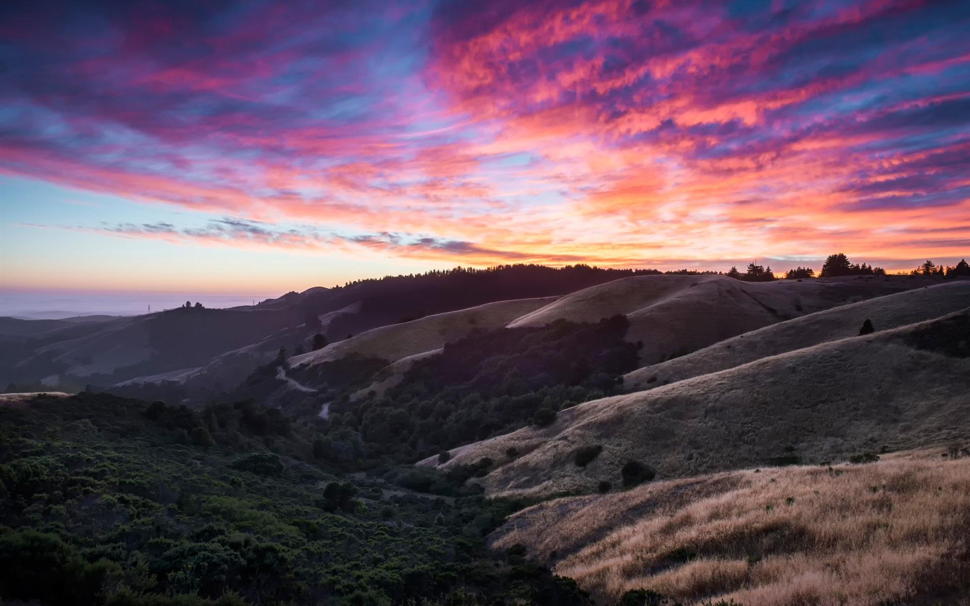 Wallpaper California Usa Hills Sky Clouds Sunset 1920x1200 Hd