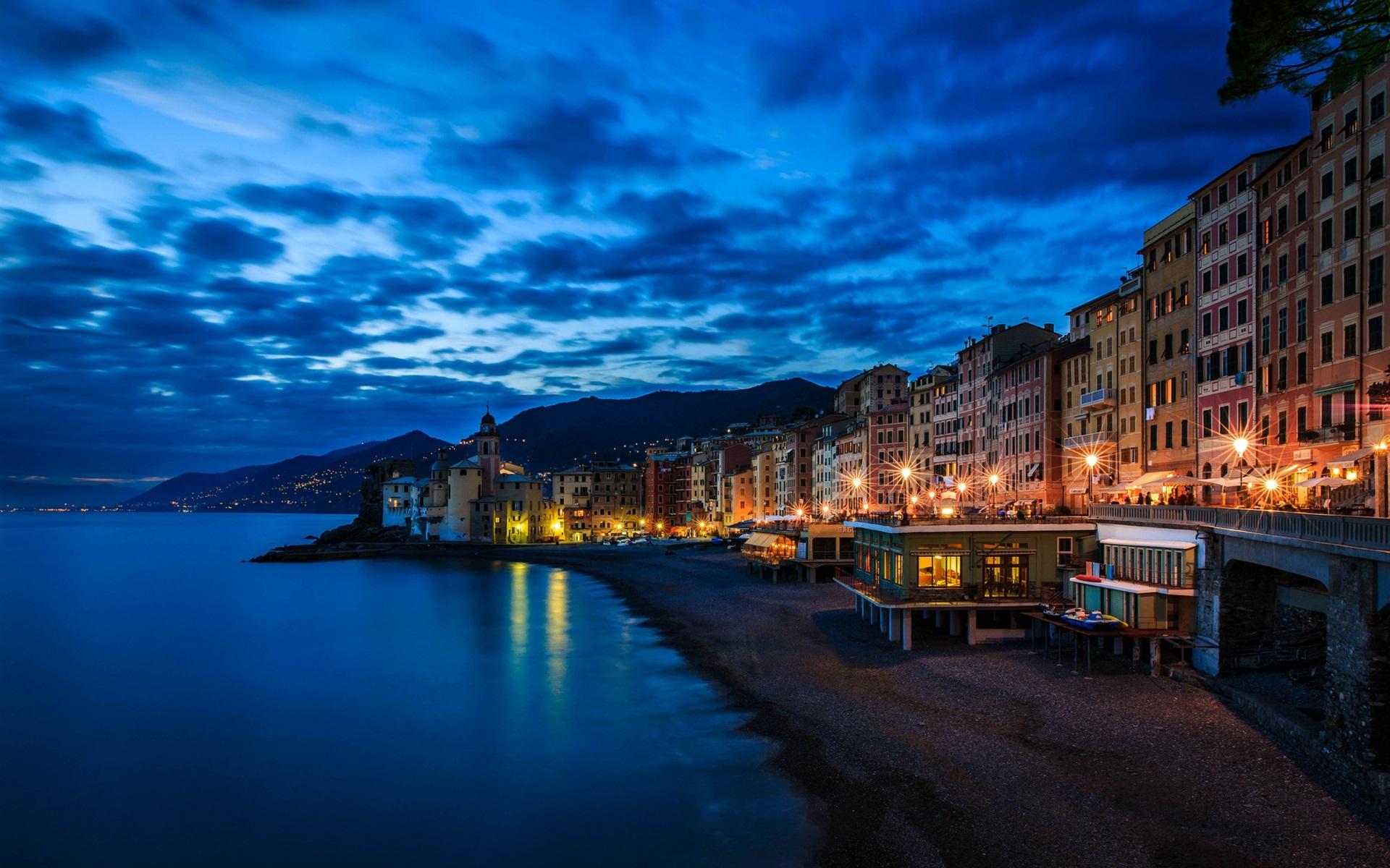壁紙 カモーリ イタリア リグーリア 家 ライト 夜 海岸 海