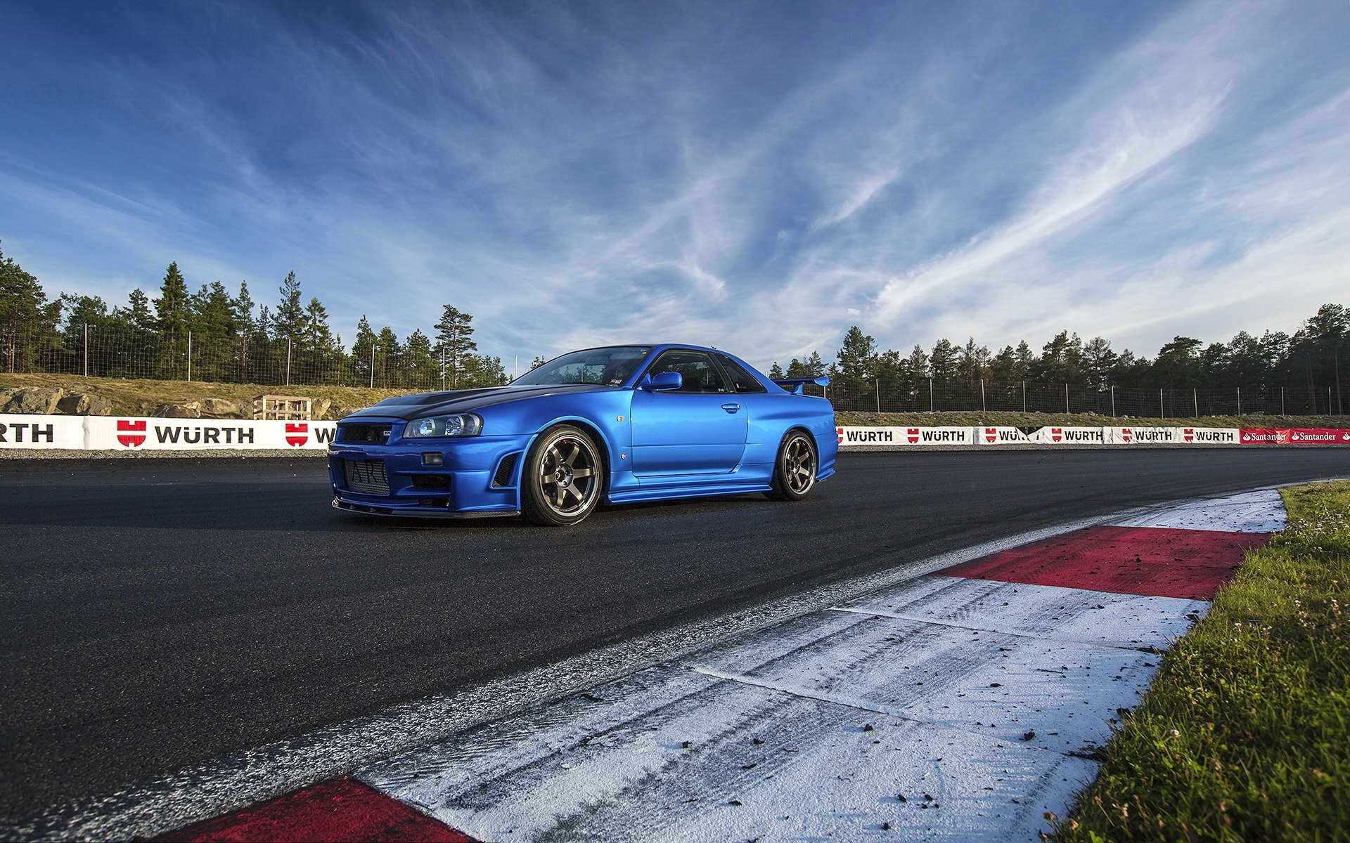Wallpaper Nissan R34 Blue Car Side View 1920x1200 Hd Picture Image