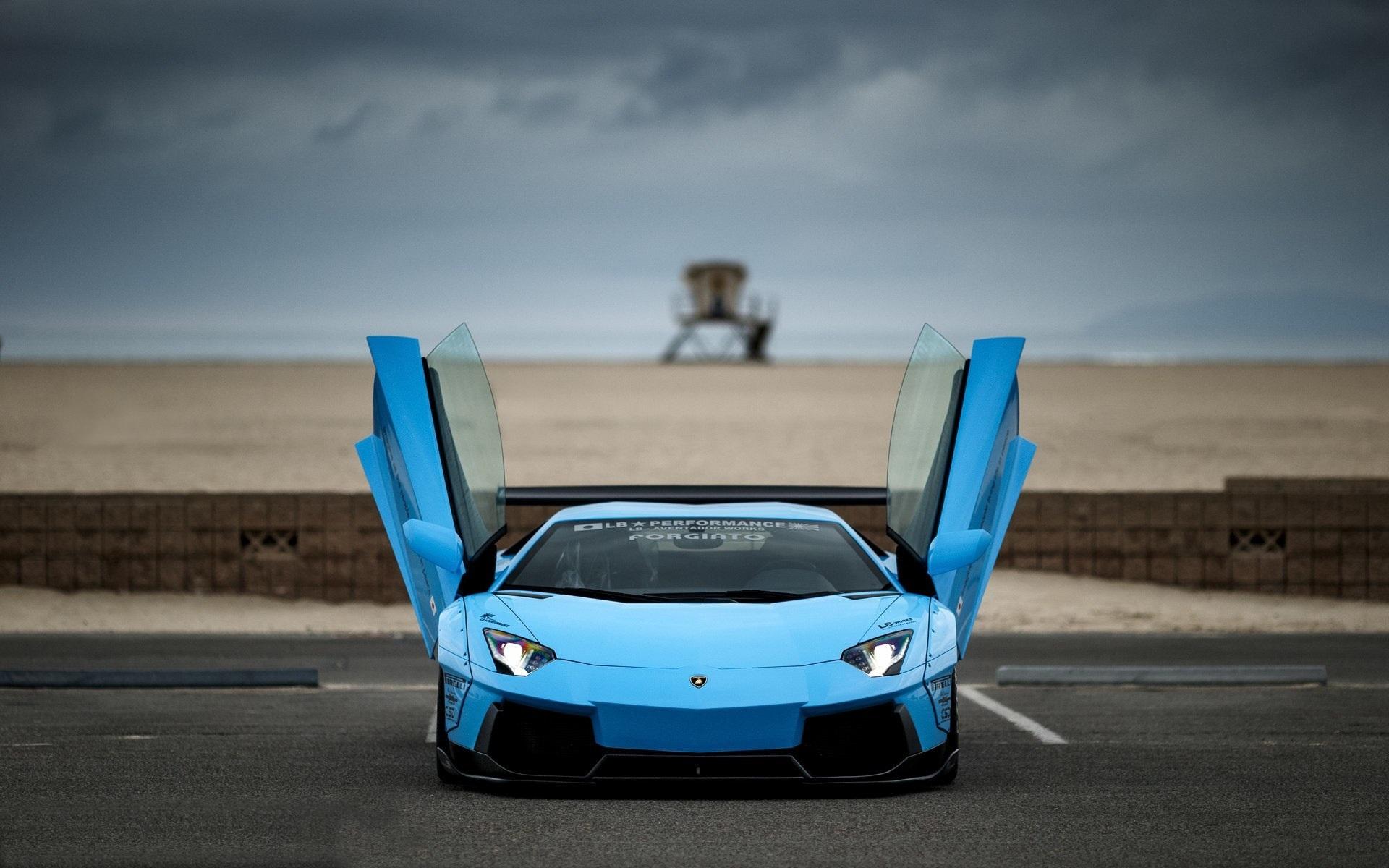 Wallpaper Blue Lamborghini Aventador Supercar Doors Opened