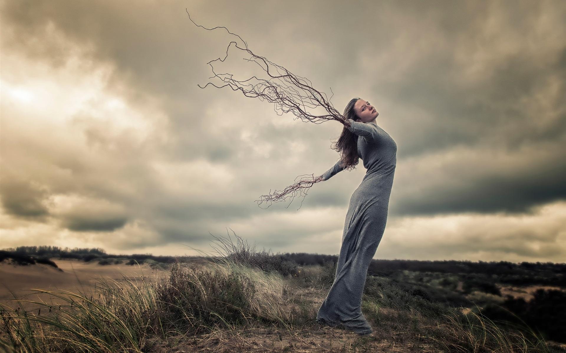 Картинка человек на ветру