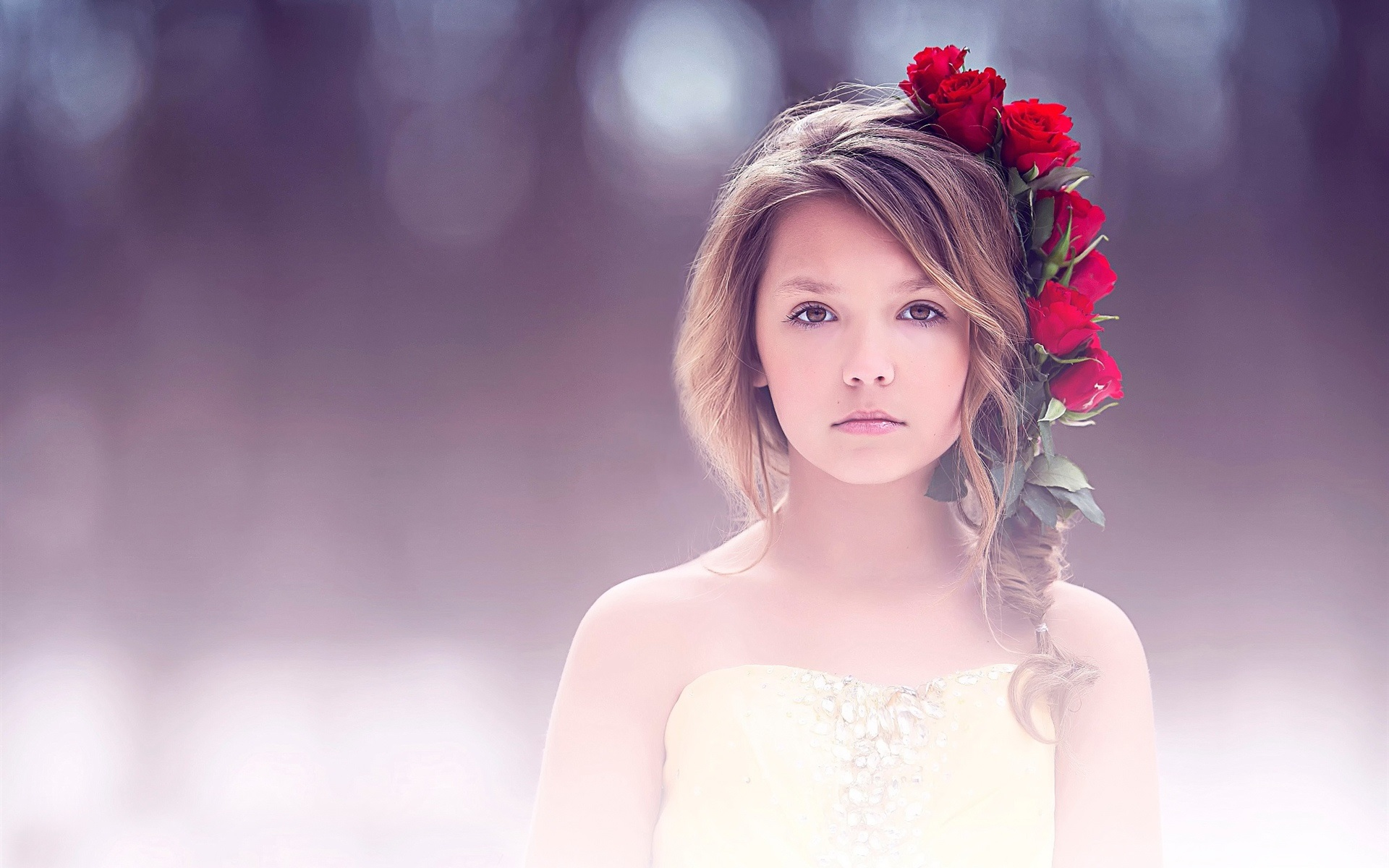 wallpaper fine art, cute girl, portrait, red rose 1920x1200 hd