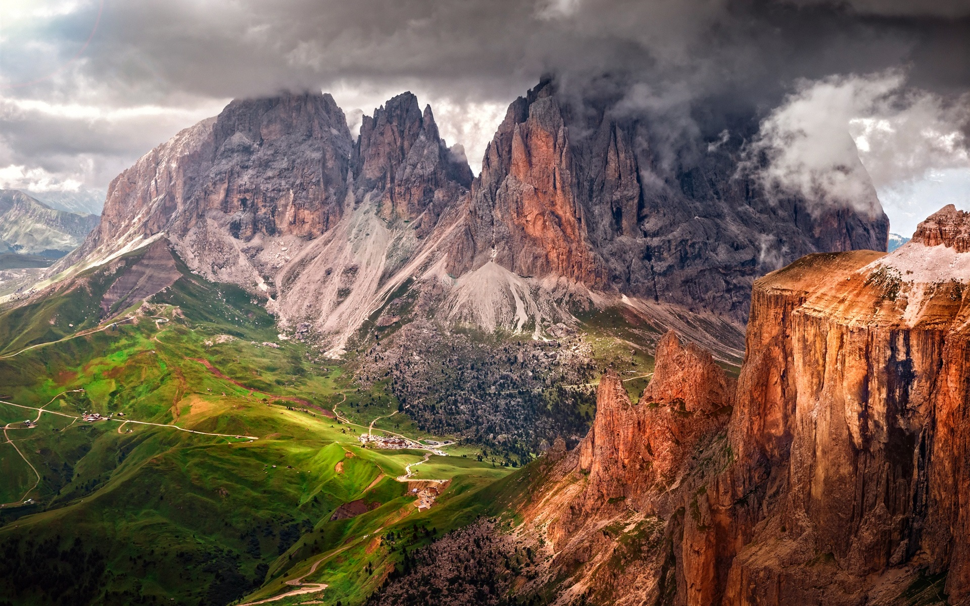 Wallpaper italy south tyrol dolomites mountains alps for Best view of dolomites