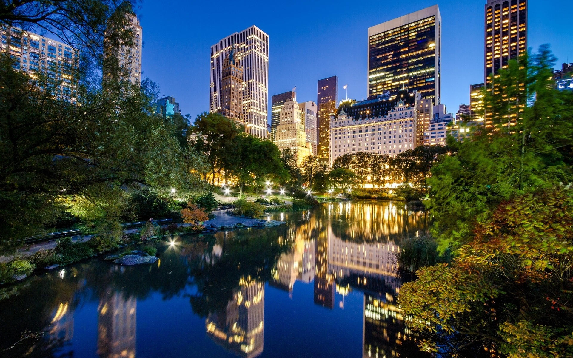 New-York-City-Manhattan-Central-Park-USA-lake-buildings-night-city_1920x1200