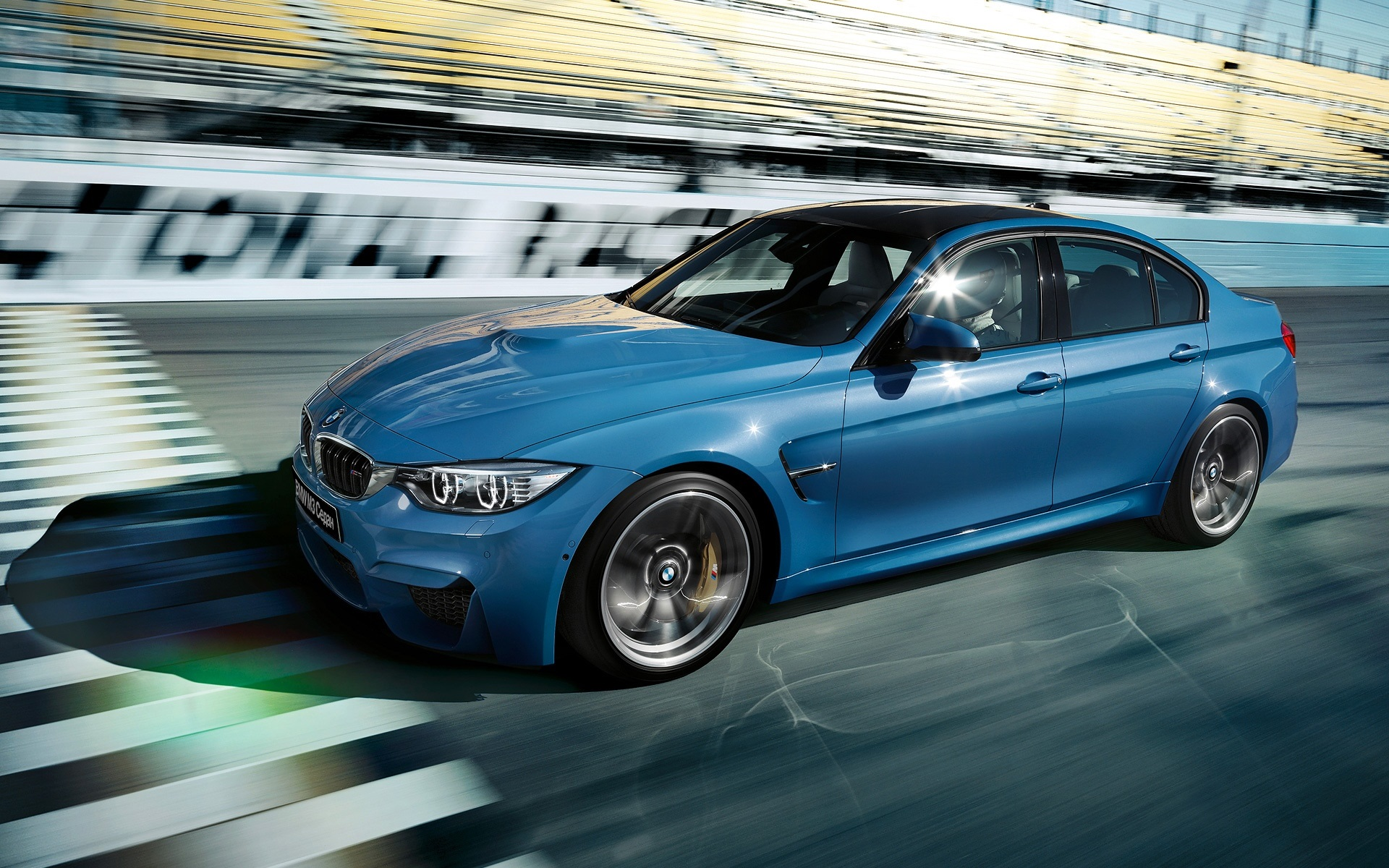 Wallpaper 2015 Bmw M3 Sedan F80 Blue Car Speed 1920x1200 Hd Picture Image