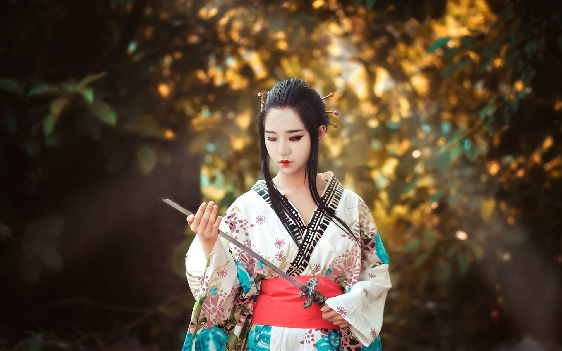 Wallpaper asian girl japanese sword 1920x1200 hd picture - Girl with sword wallpaper ...