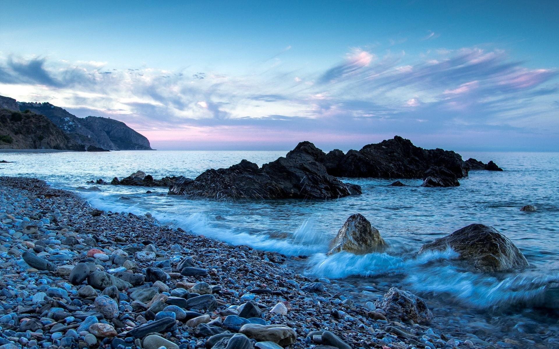 Wallpaper Sea Beach Rocks Waves 1920x1200 Hd Picture Image