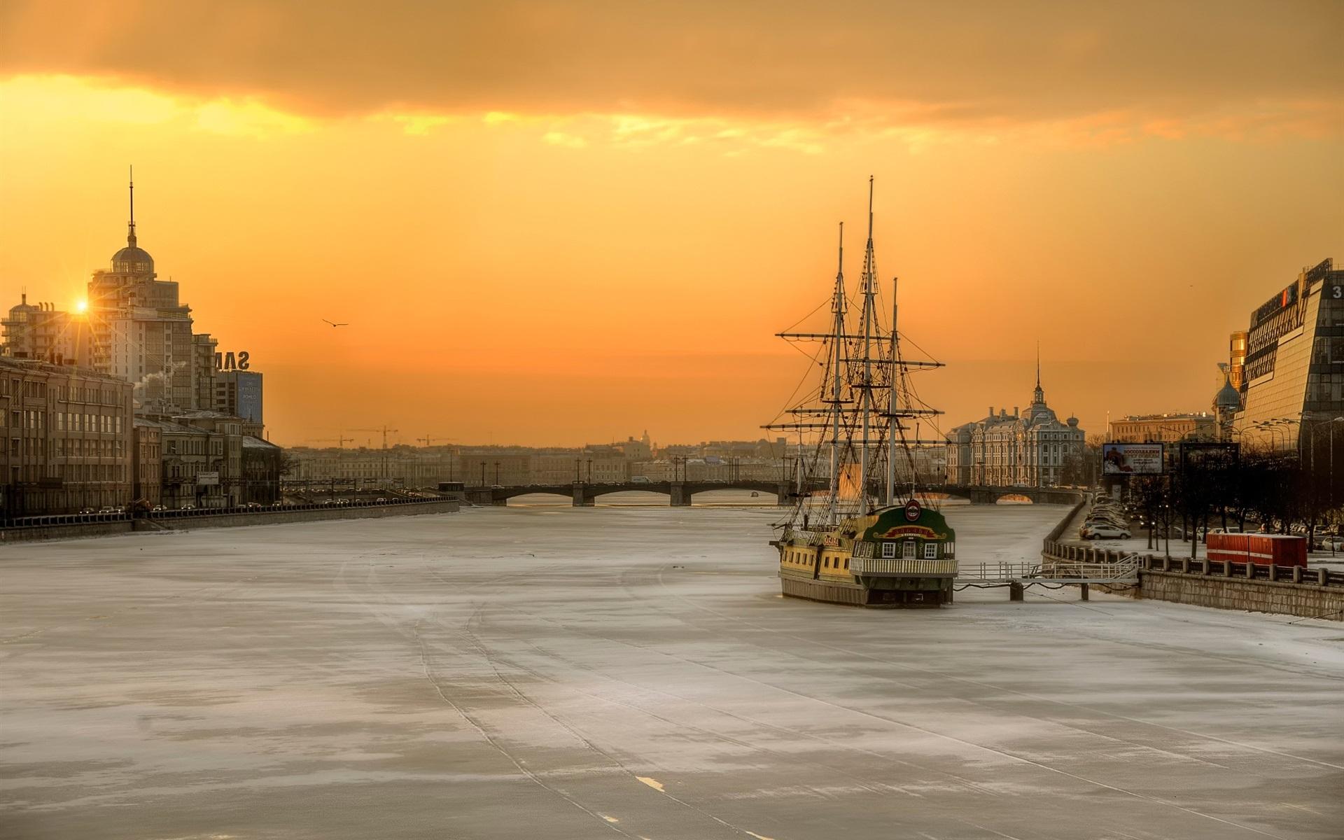 Санкт-Петербург корабль закат  № 3945016  скачать