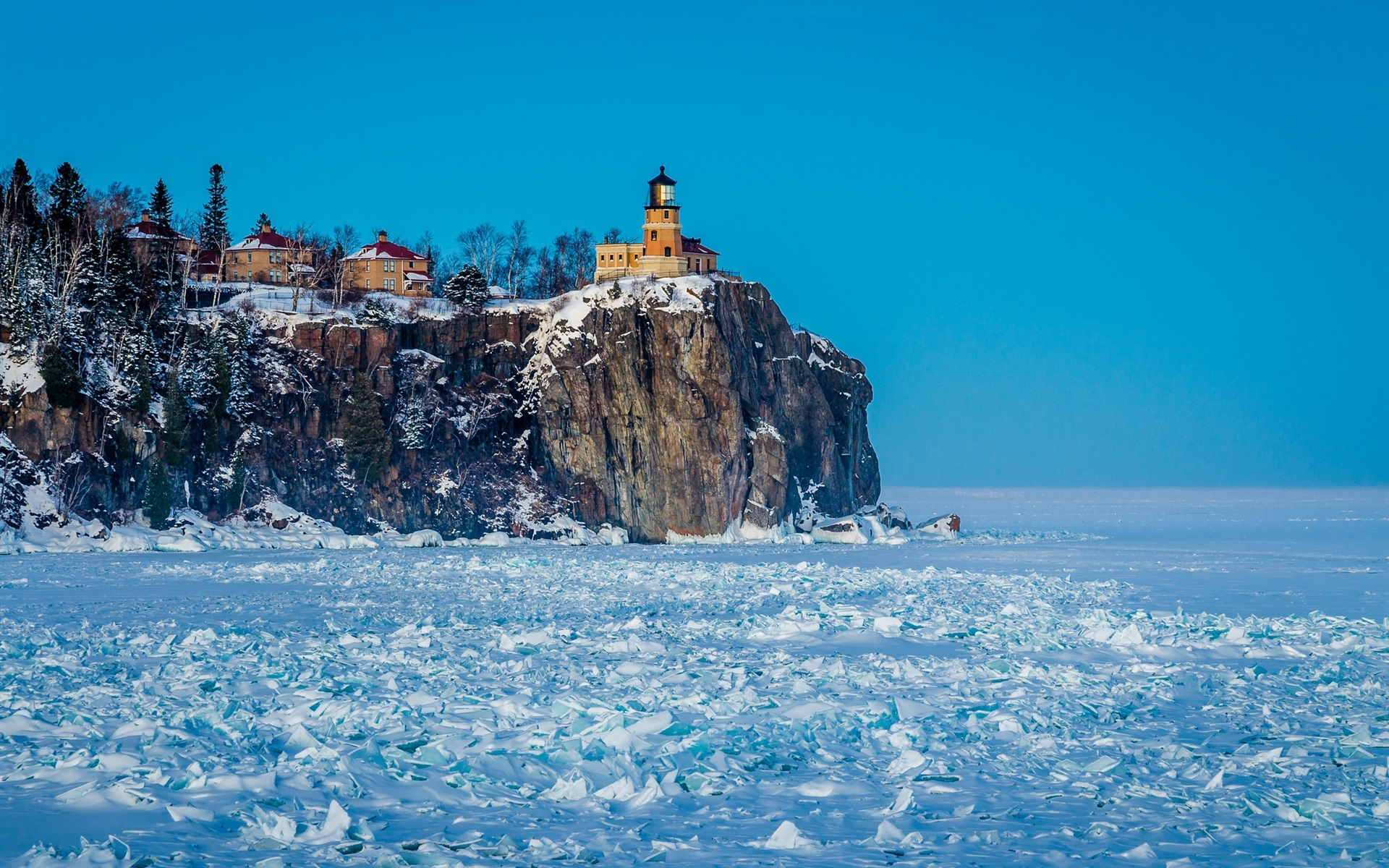 Wallpaper Winter Snow Lighthouse Frozen 1920x1200 HD Picture Image