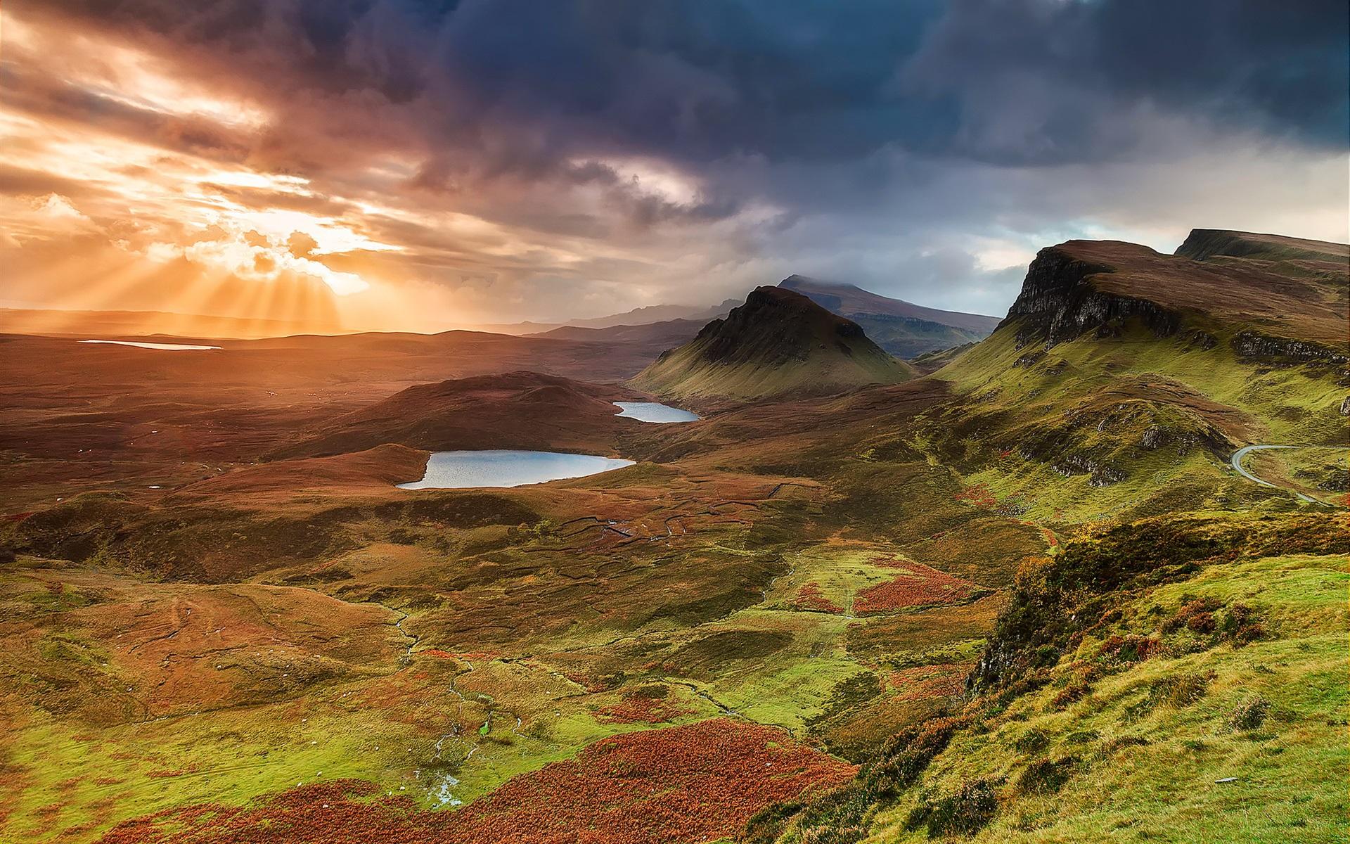 Wallpaper Scotland Isle Of Skye Hills Mountains Lake Sunset