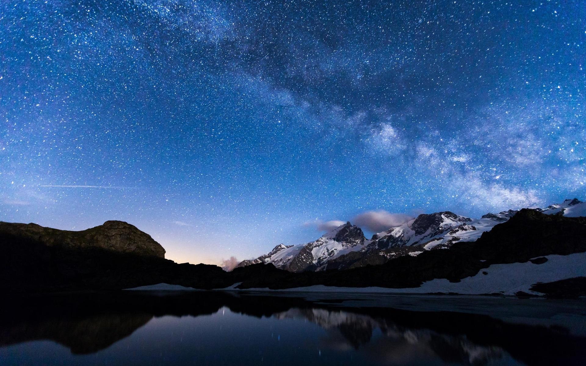 Pin Fondos Montana Nevada 1440x900 Widescreen Wallpapers: Wallpaper Night, Lake, Mountains, Sky, Stars, Water