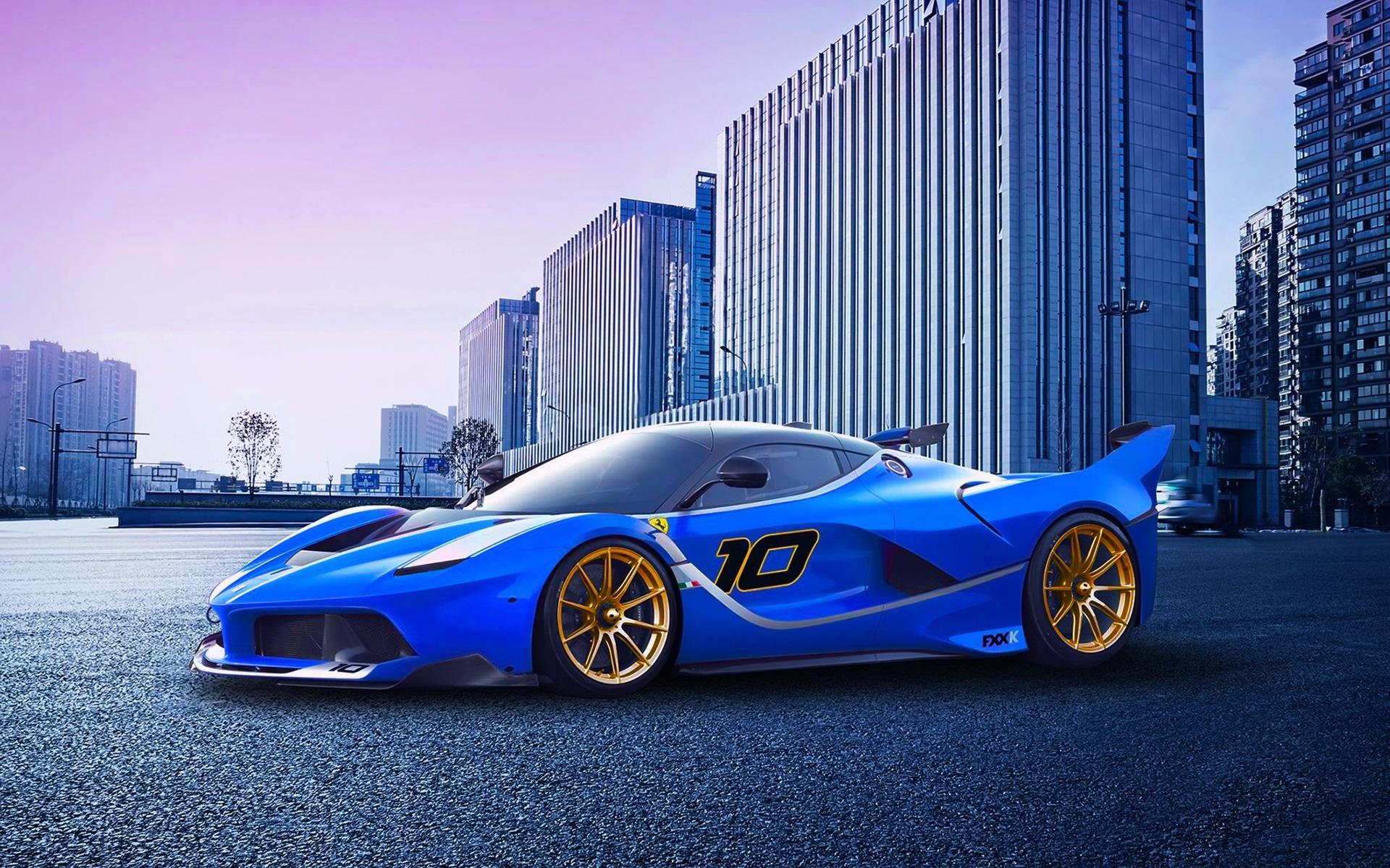 Wallpaper Ferrari Fxx K Race Car Blue Supercar 1920x1200 Hd Picture