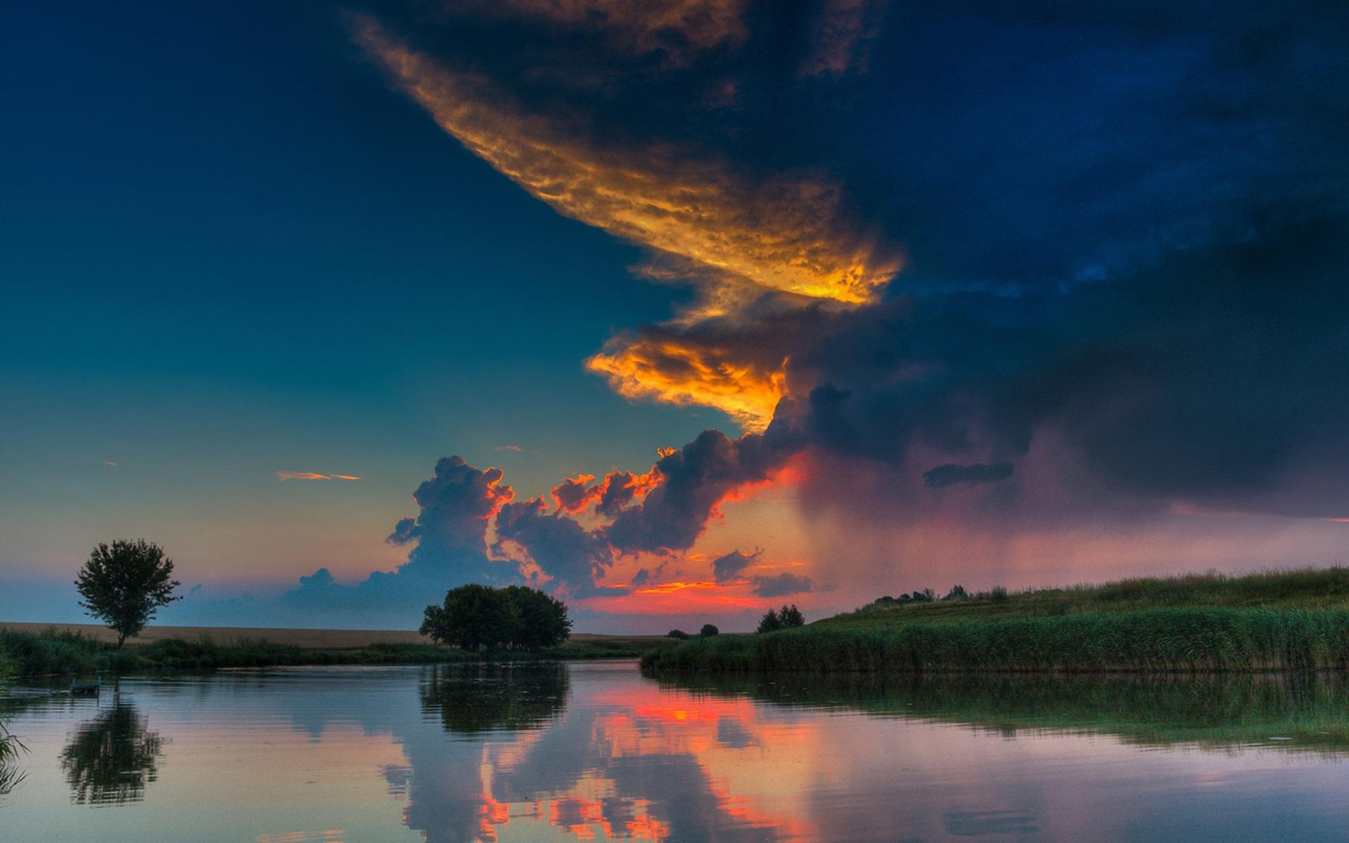Природа облака небо река без смс
