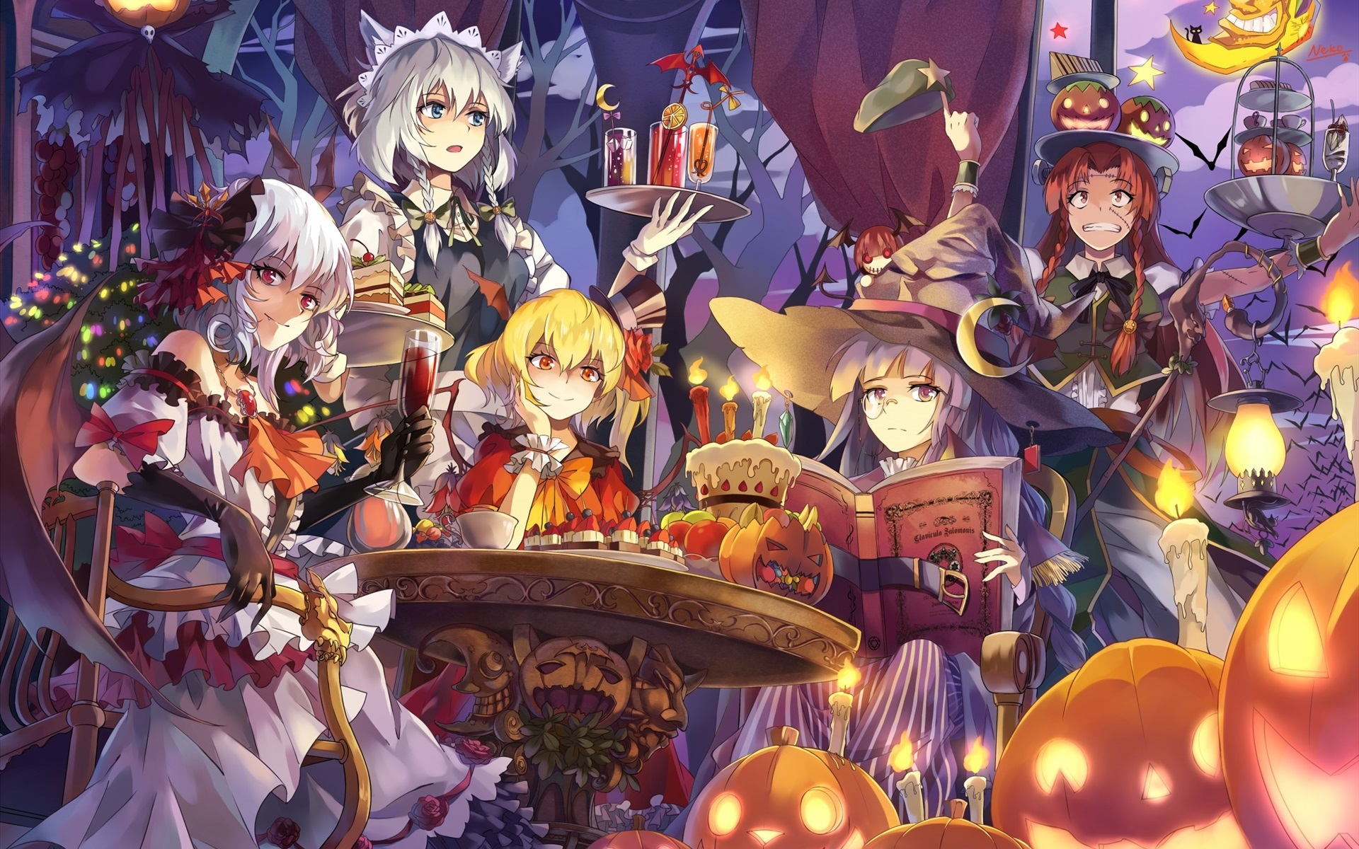 wallpaper beautiful anime girls, halloween 1920x1200 hd picture, image