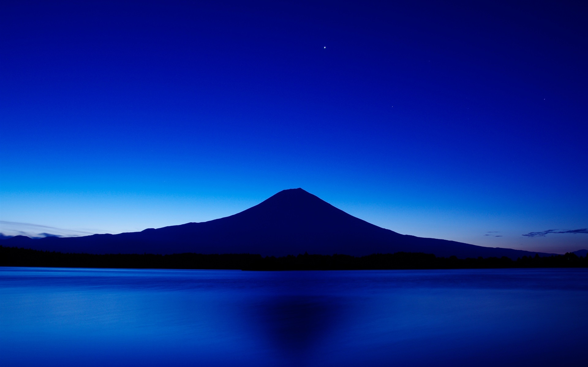 Wallpaper Japan Mount Fuji Blue Sky Lake Night 1920x1200