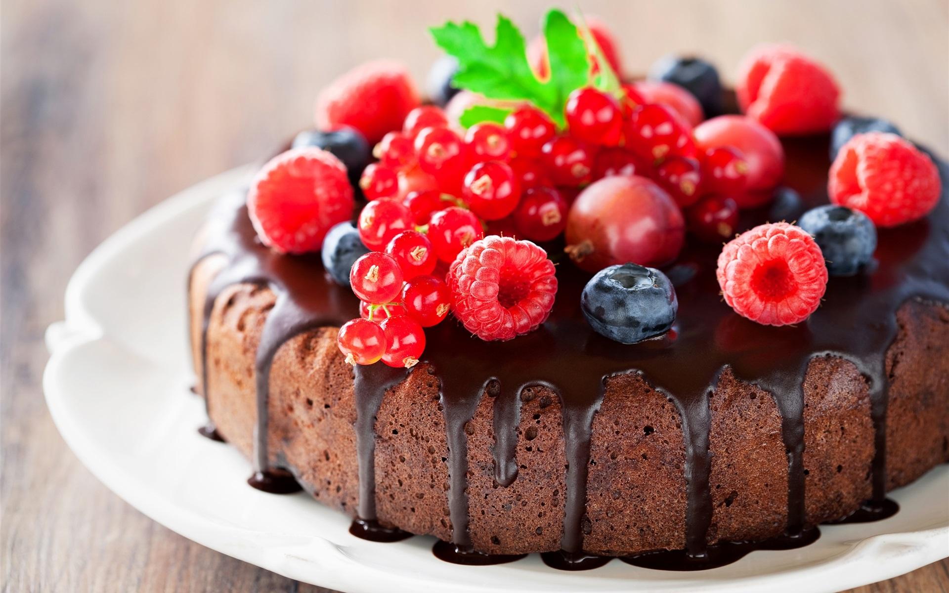Download Wallpaper 1920x1200 Berries Cake Dessert