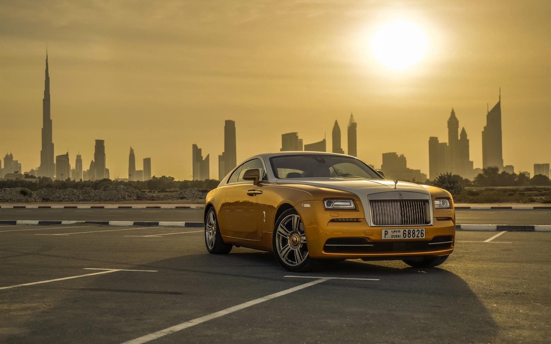 Wallpaper Gold Color Rolls Royce Luxury Car Dubai Sunset