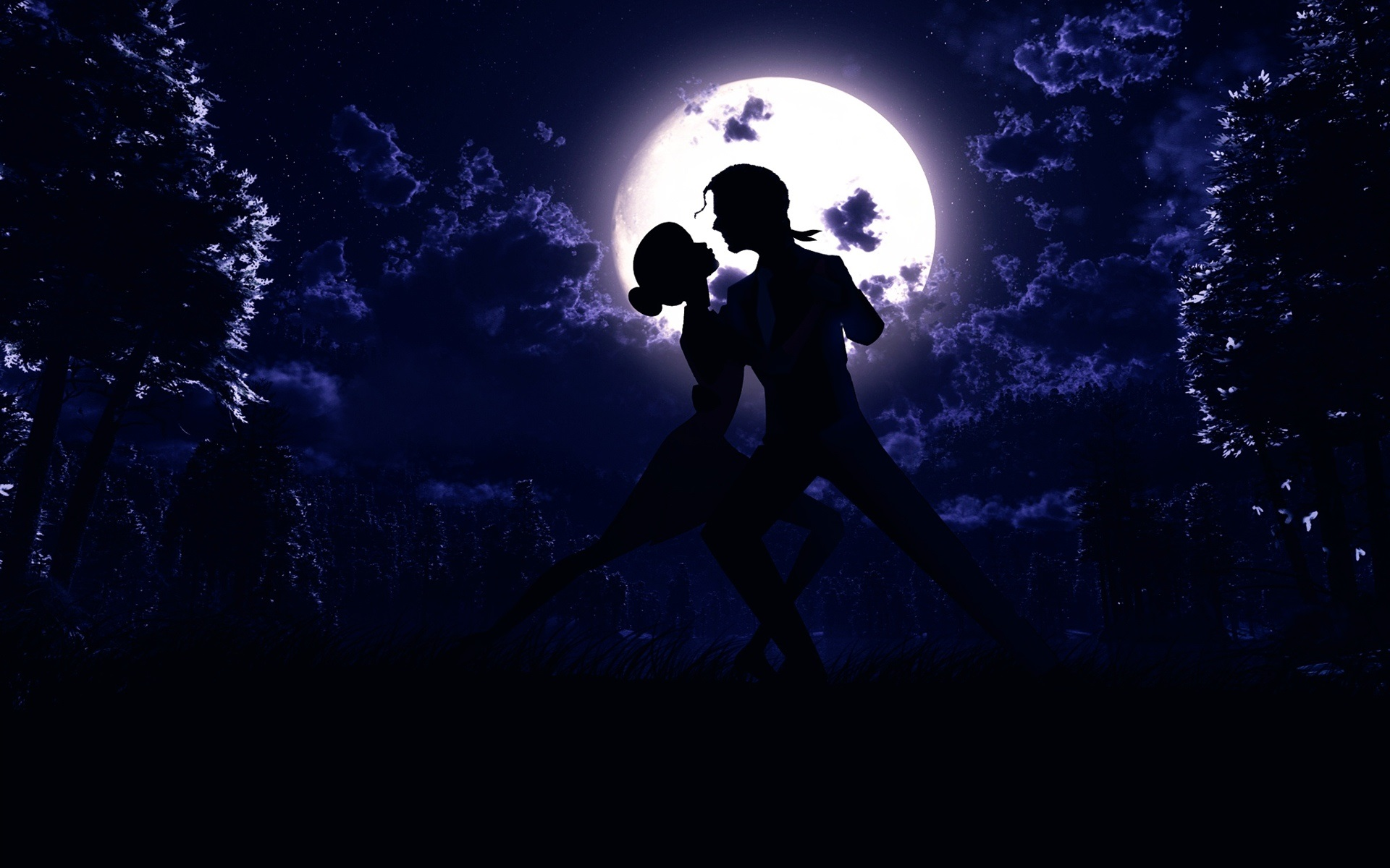 Wallpaper Moon Night Pair Dance Love Silhouette Art Pictures