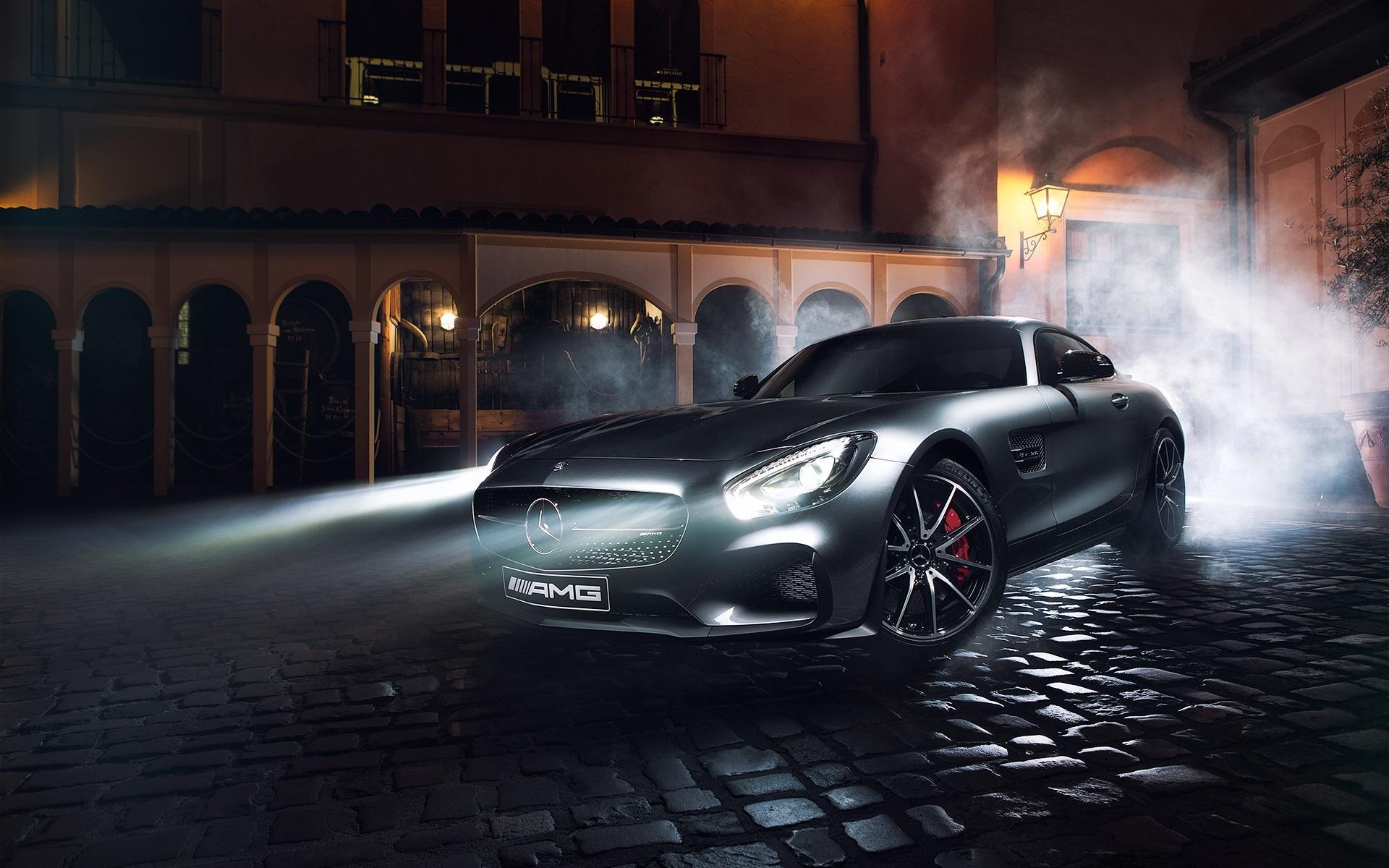 Mercedes Benz Amg Gt S Silber Supercar Nacht Licht Rauch