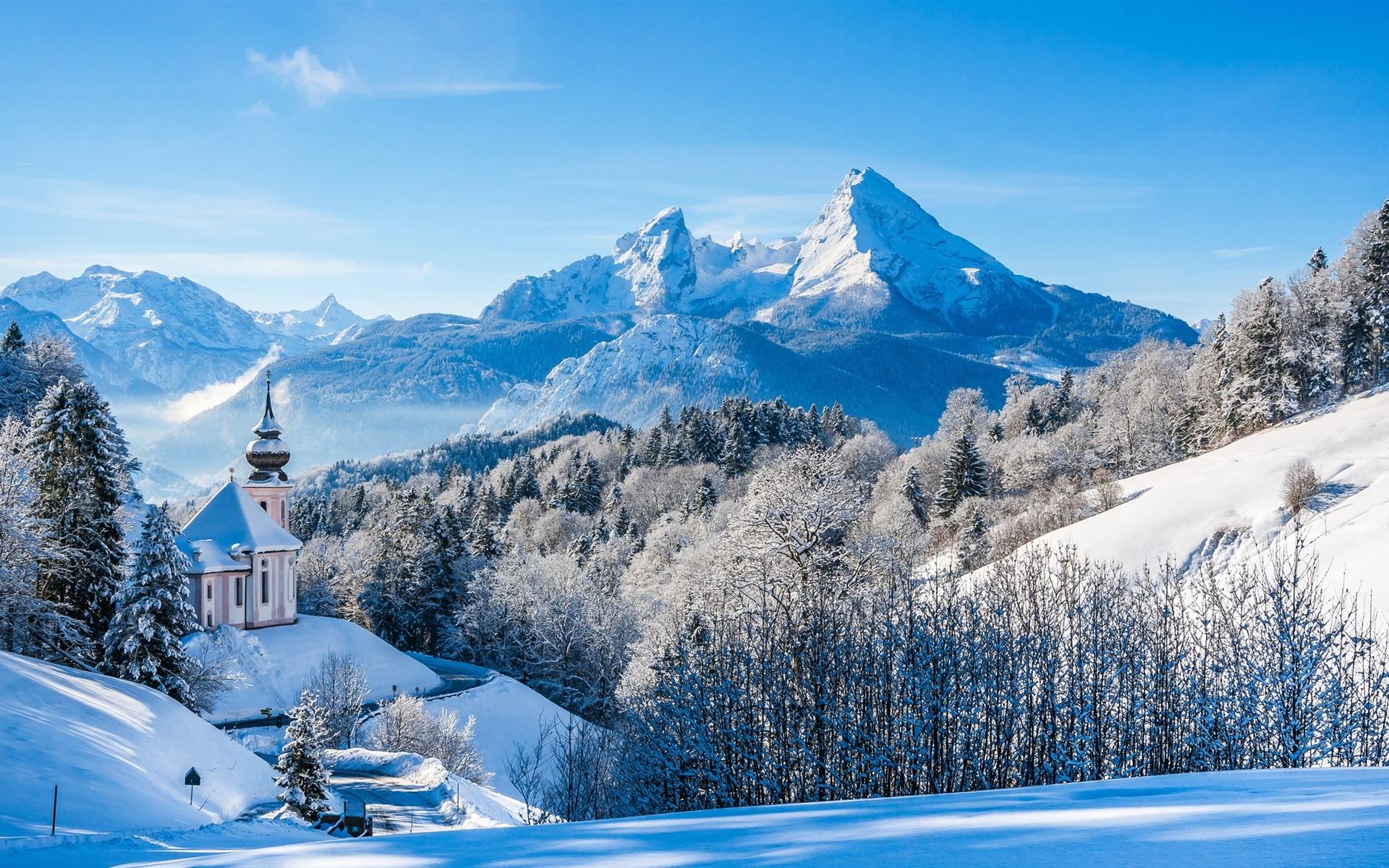 deutschland bayern alpen winter schnee berge b ume haus hintergrundbilder 1920x1200. Black Bedroom Furniture Sets. Home Design Ideas
