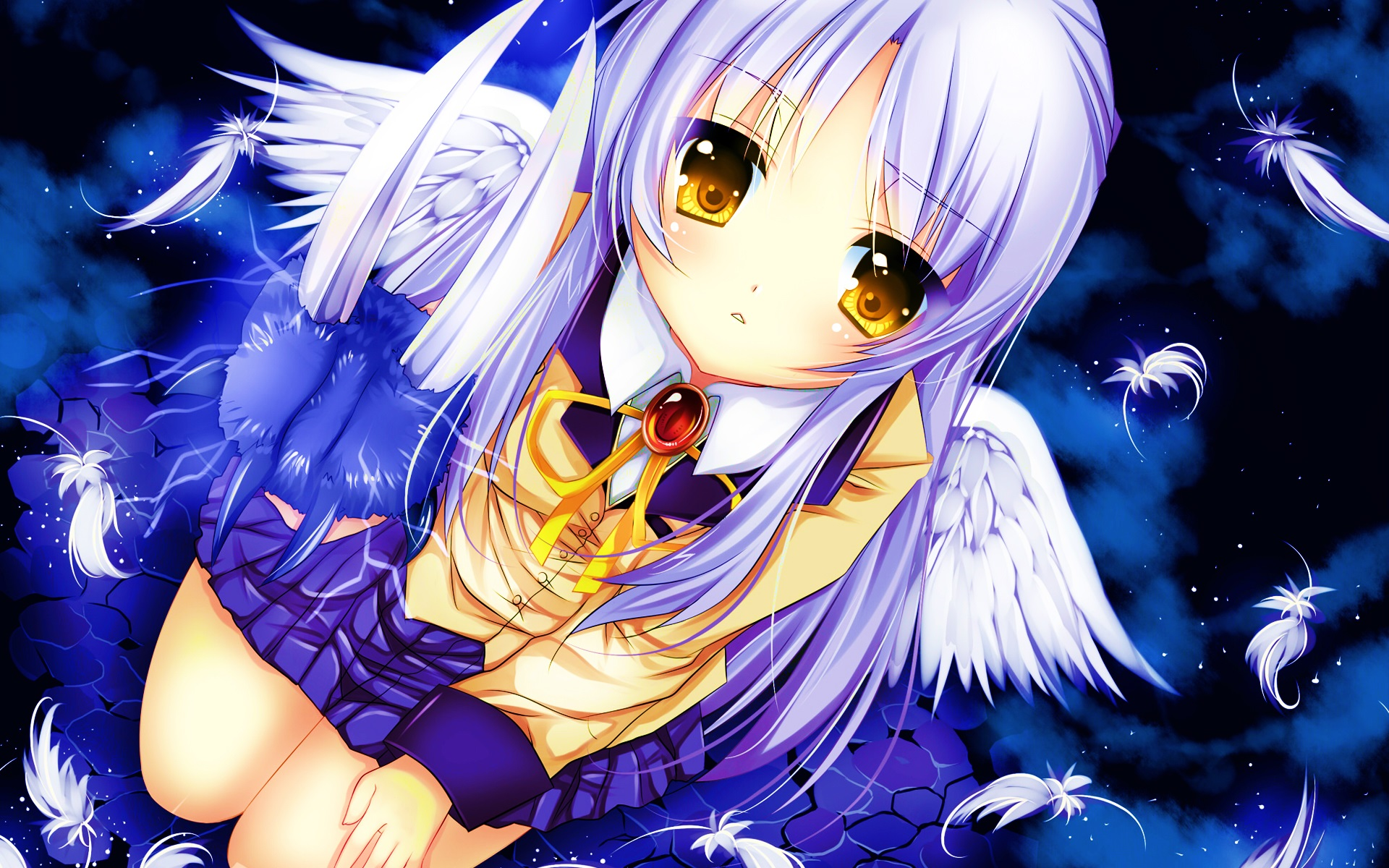Wallpaper Angel Beats, Tachibana Kanade, white hair anime