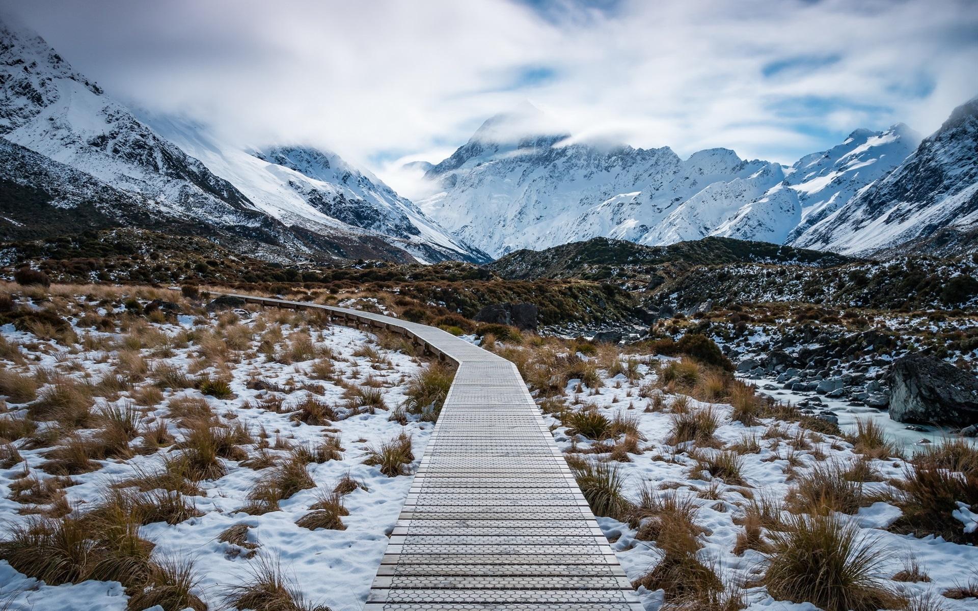 壁紙 アオラキマウントクック国立公園、ニュージーランド、山、雪、パス 1920x1200 HD 無料のデスクトップの