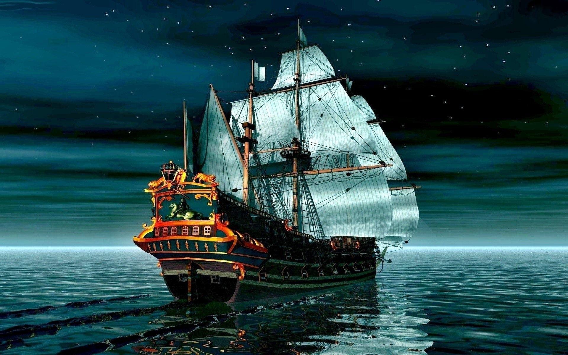 Papéis De Parede Navio De Pirata No Mar Calmo 1920x1200 HD