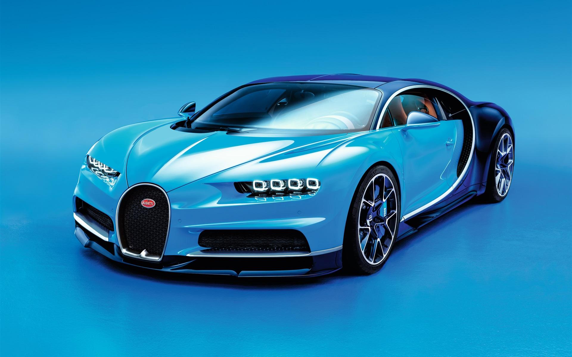 布加迪凯龙蓝色超级跑车 壁纸