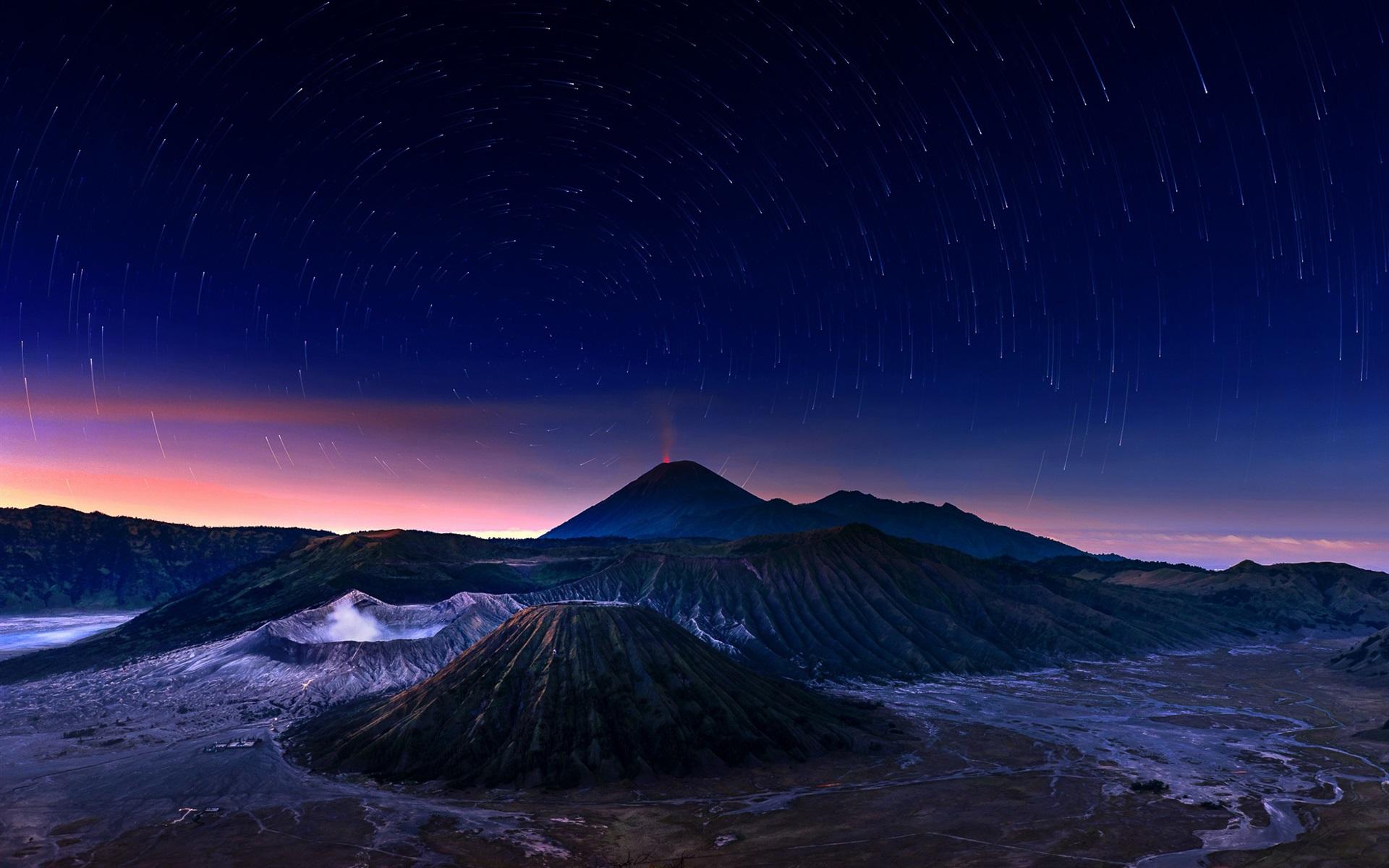 Wallpaper Indonesia, Java, Bromo volcano, night, stars ...