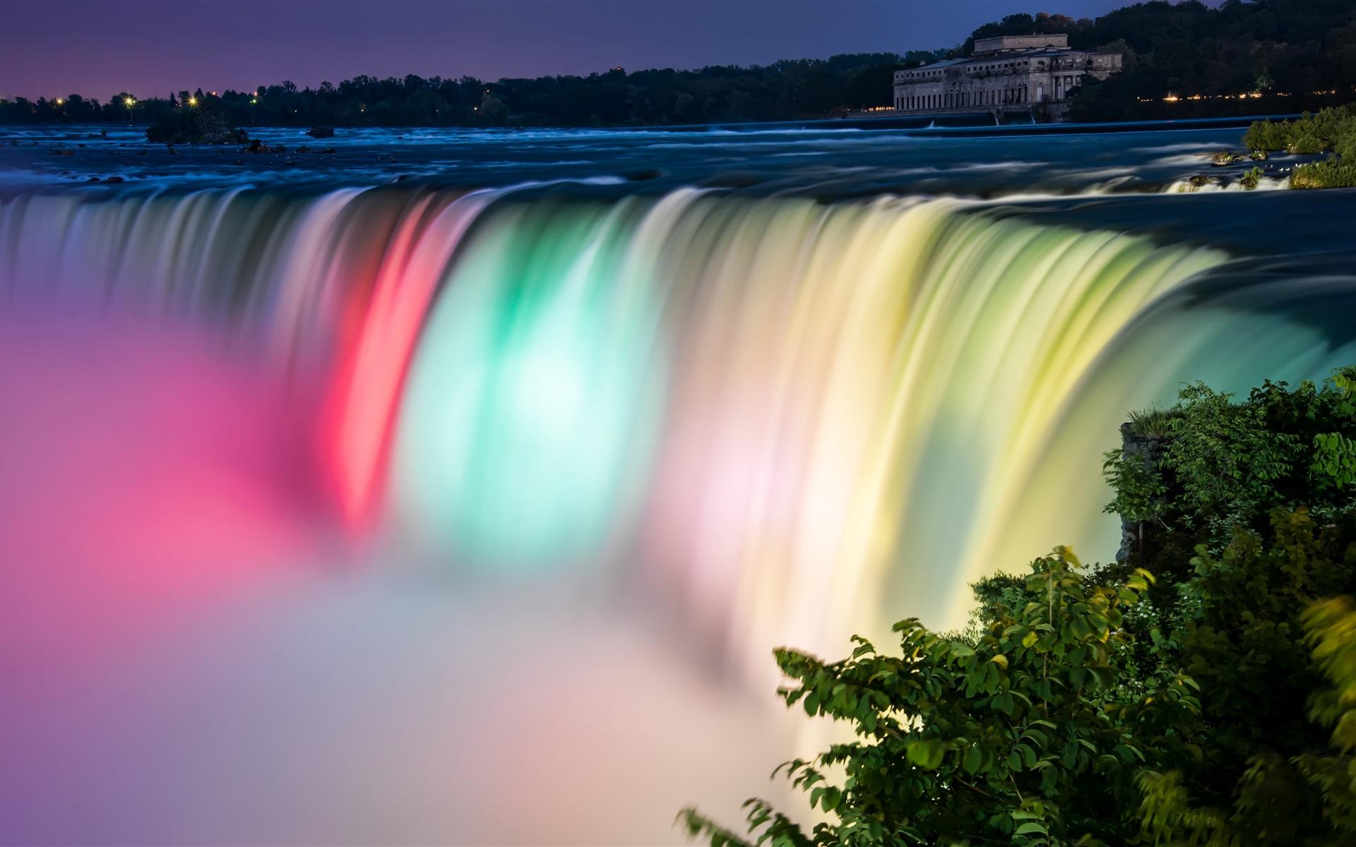 Wallpaper Niagara Falls Beautiful Colors  Night  Canada