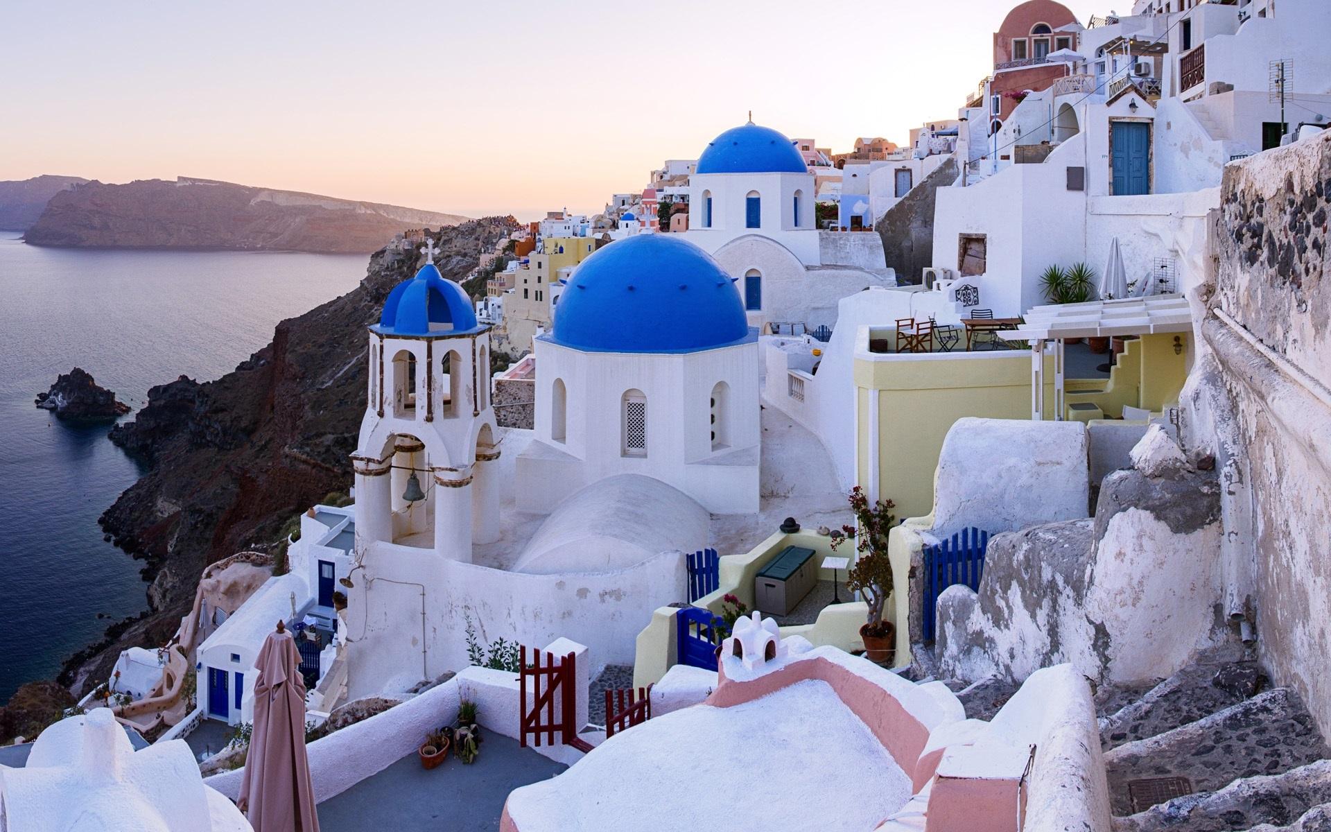 Wallpaper Oia Santorini Greece Sea Houses 3840x1200