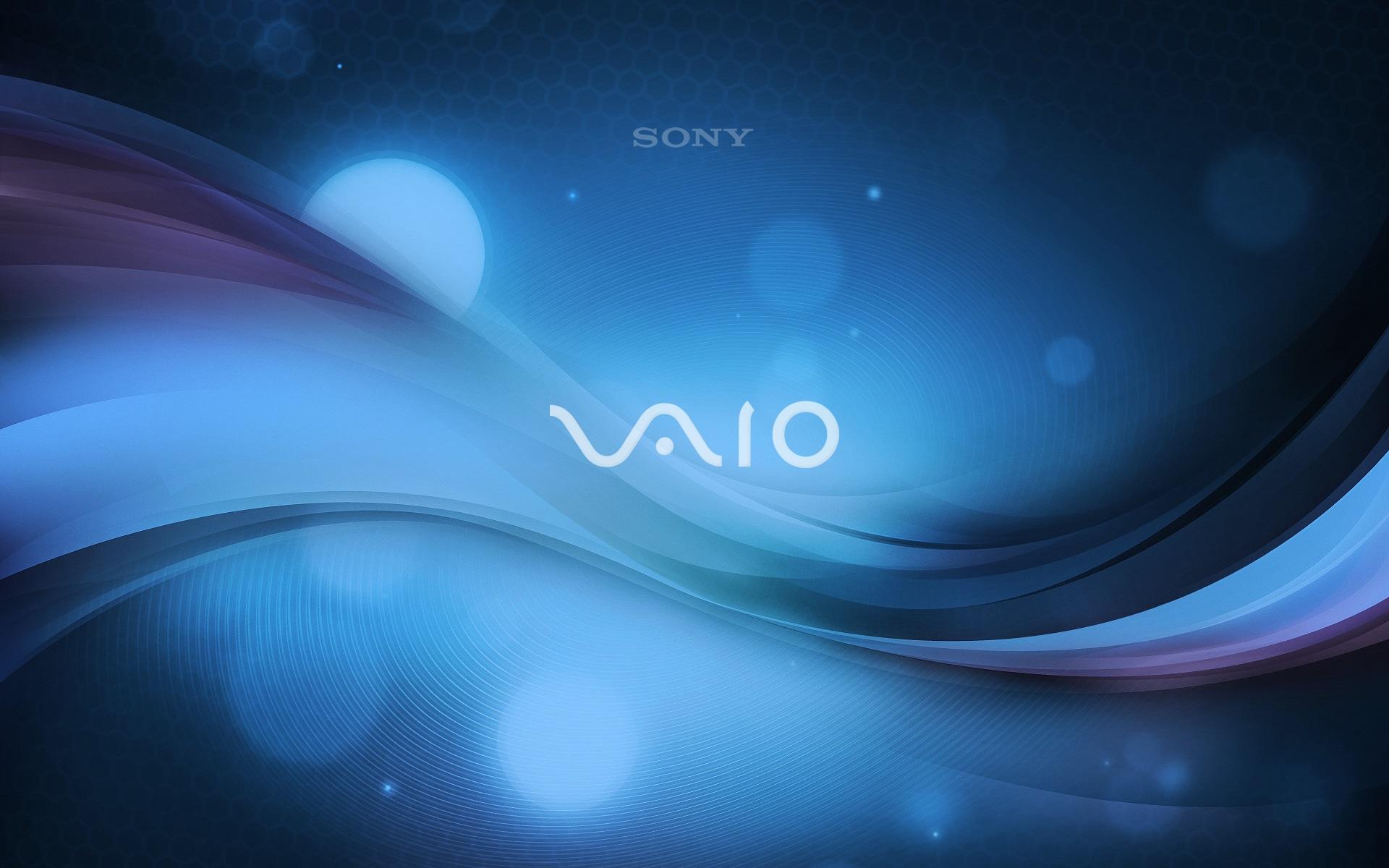 壁紙 ソニーのVAIOロゴ、青抽象的な背景