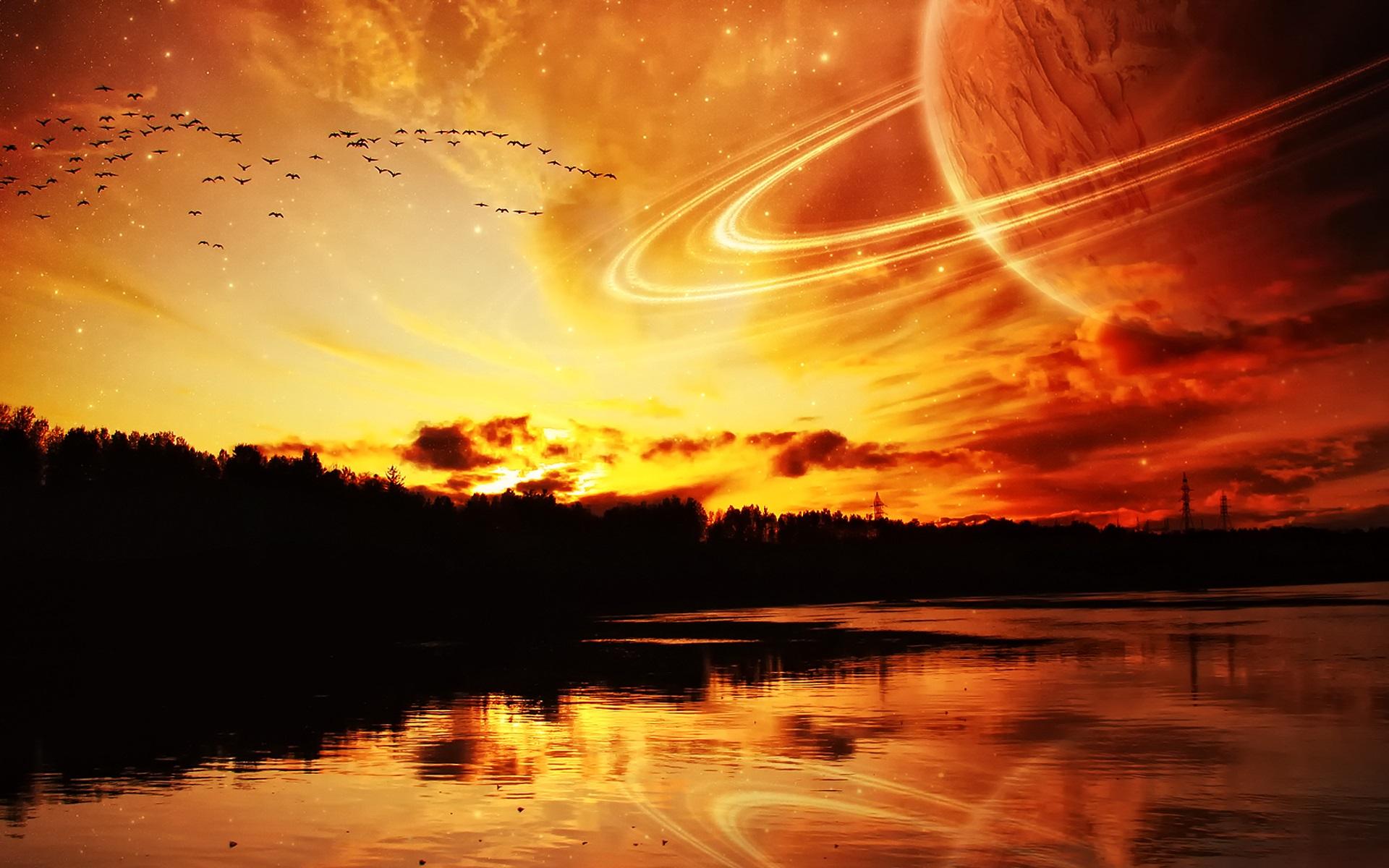 Wallpaper Dream World River Planet Space Night 1920x1200 HD