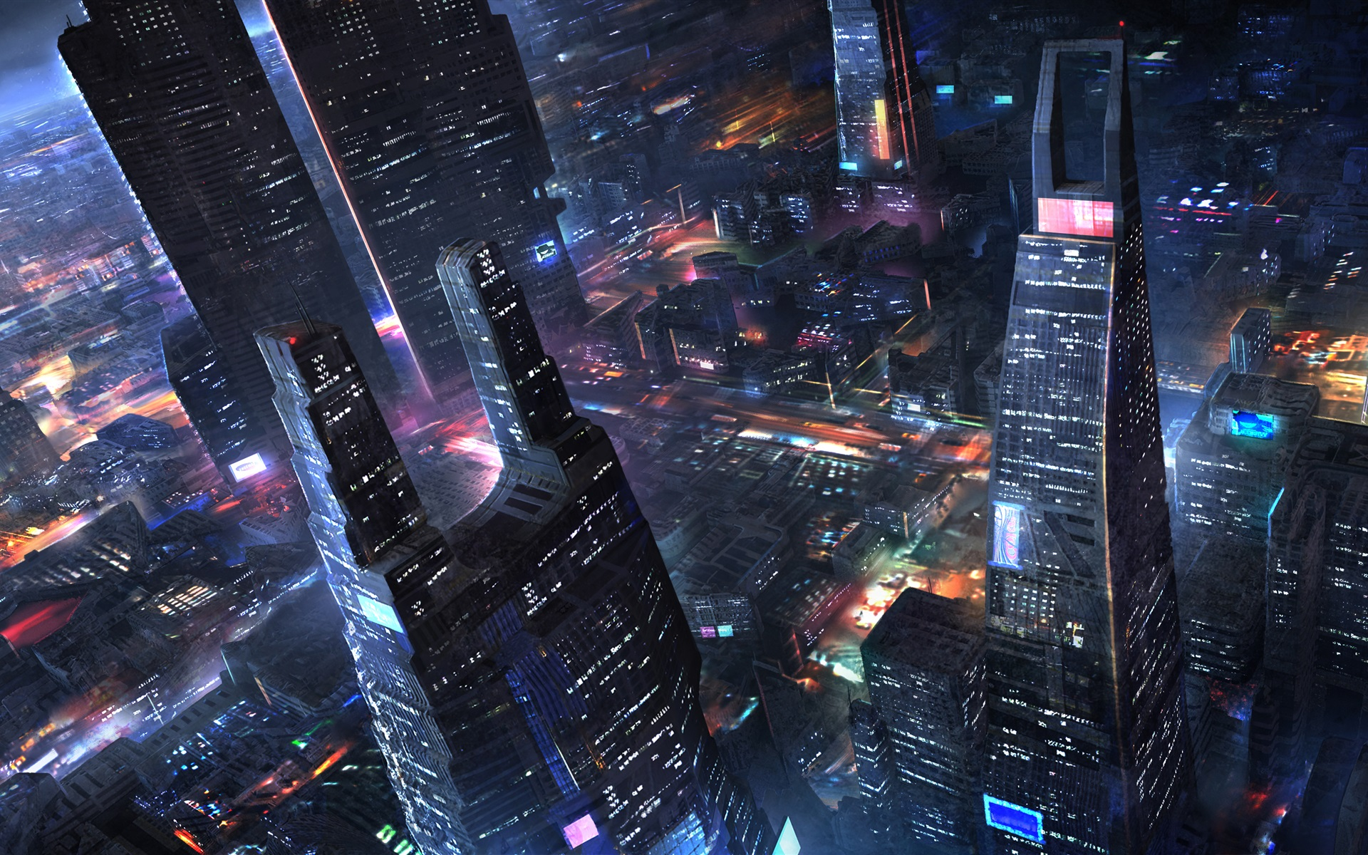 Wallpaper Future City Skyscrapers Night Lights Art
