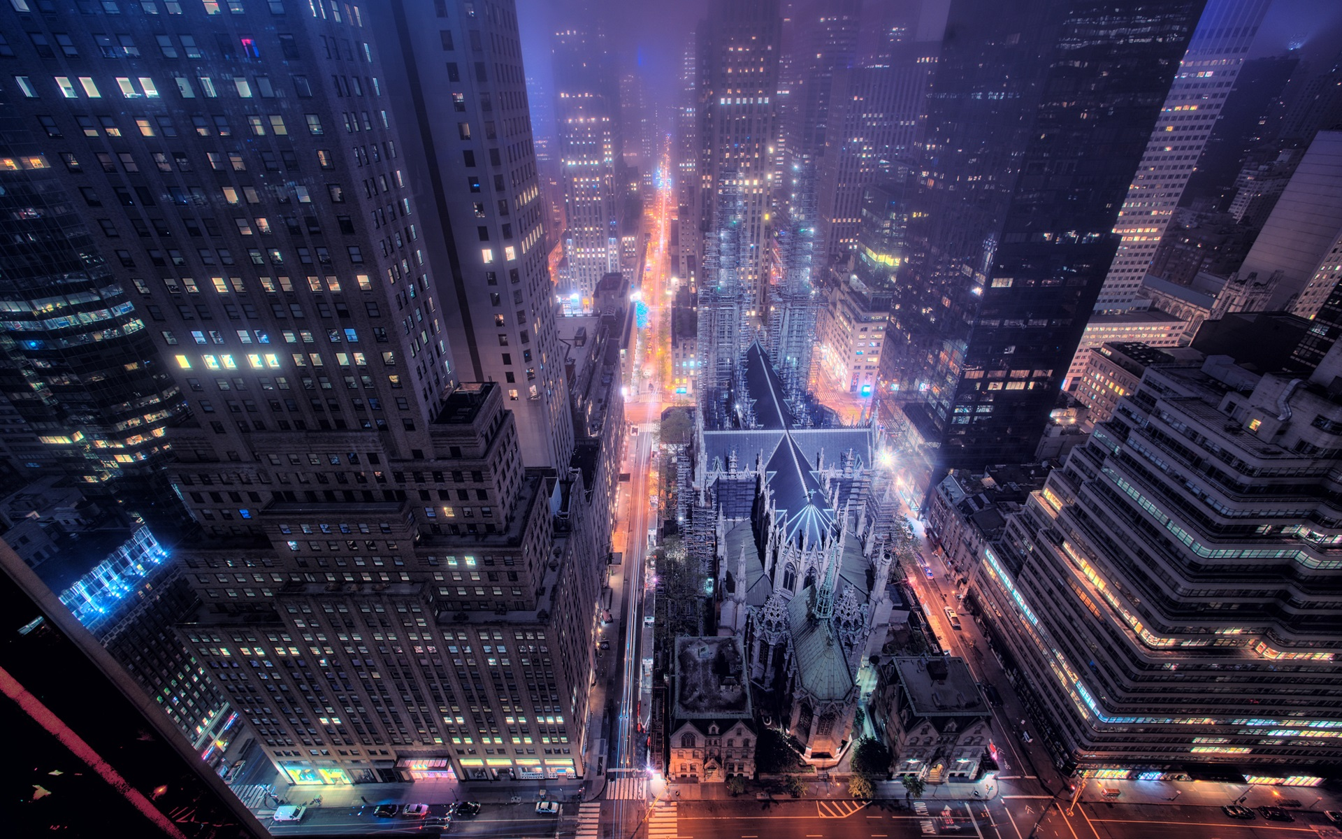 Wallpaper New York City Night View Street Buildings Skyscrapers Lights Usa 1920x1200 Hd Picture Image