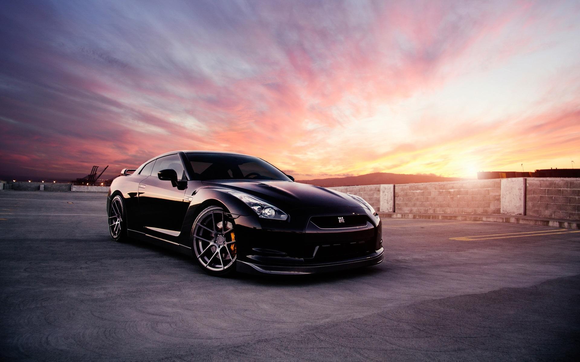 Wallpaper Nissan Gt R Black Car At Sunset 1920x1200 Hd