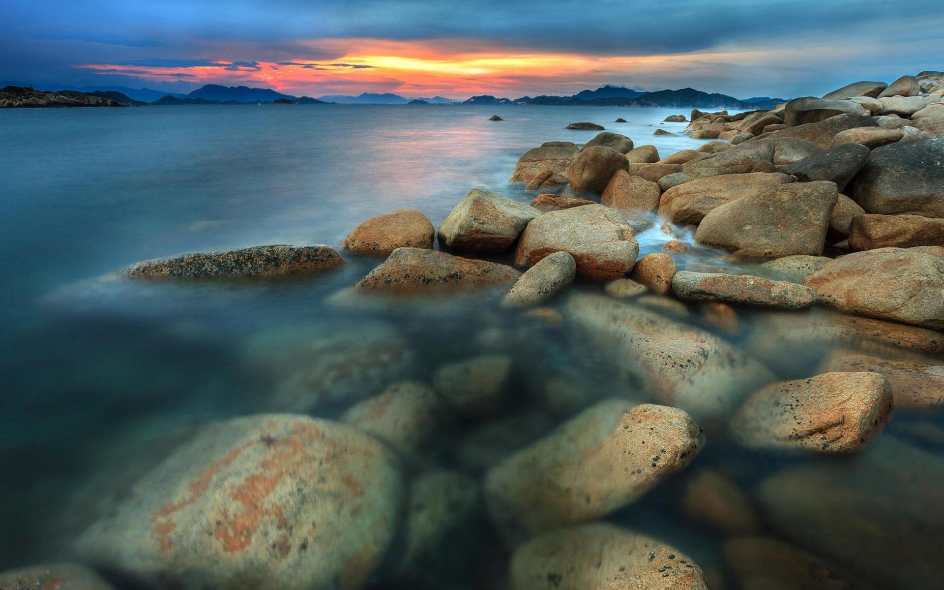 море берег камни закат sea shore stones sunset  № 1033145 без смс