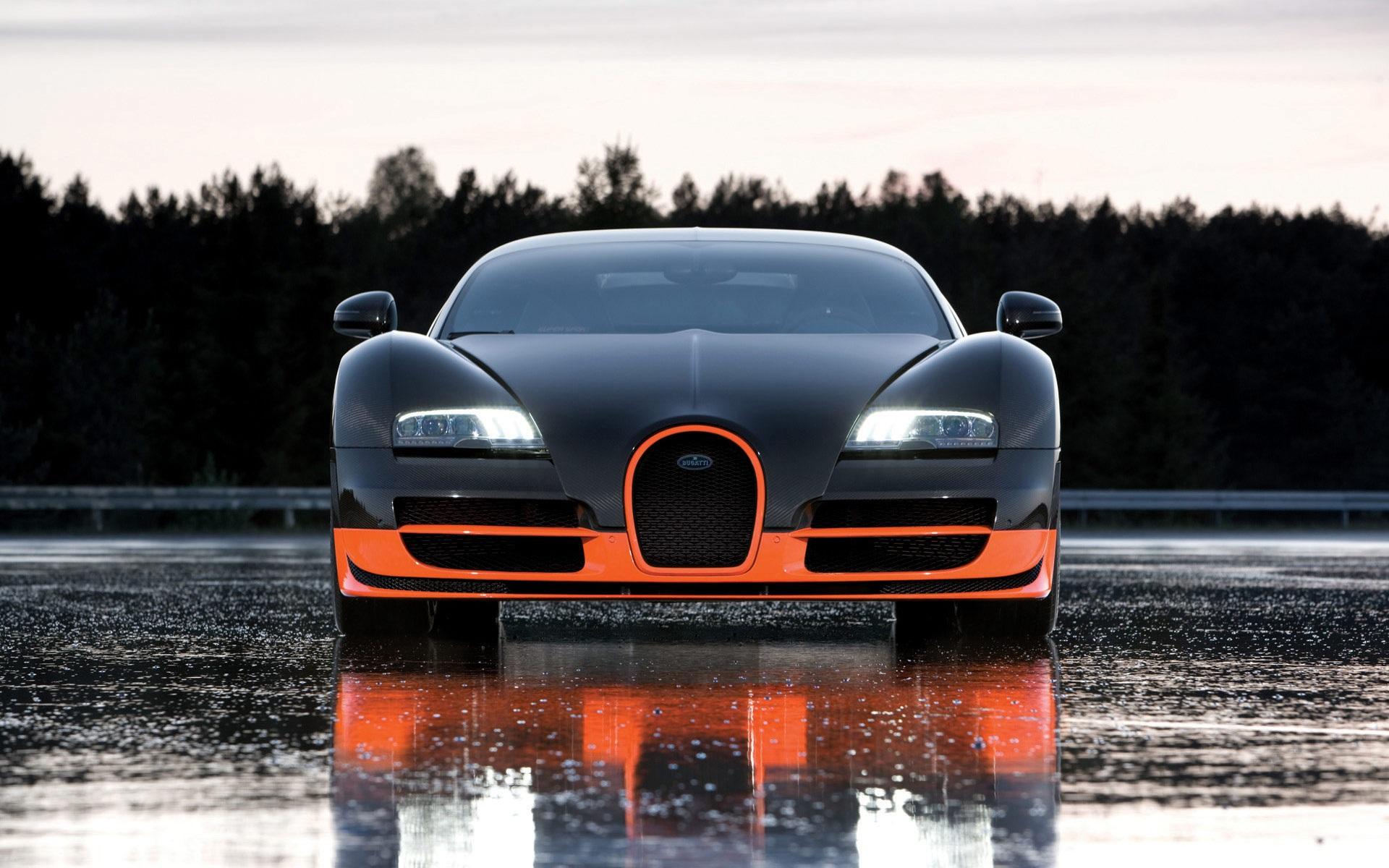 Bugatti Supercar Vorderansicht Nasser Strasse 1920x1200 Hd