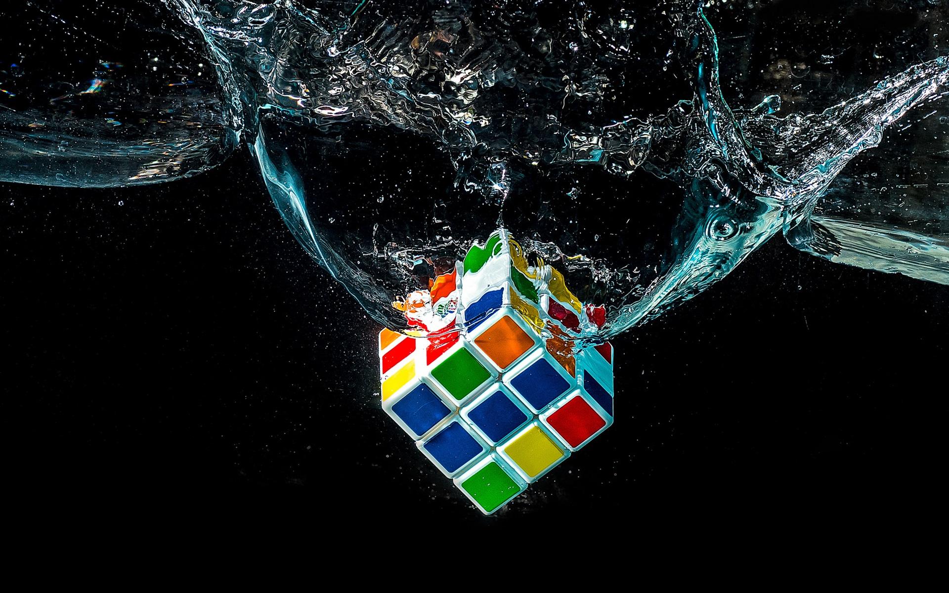 wallpaper rubik's cube falling in water 1920x1200 hd picture, image
