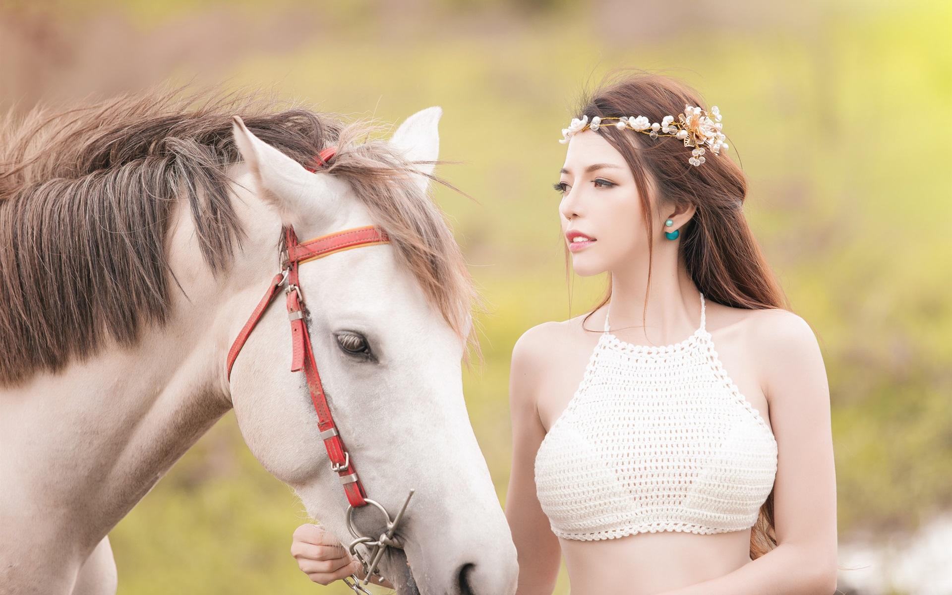 Wallpaper Beautiful Asian Girl And White Horse 1920x1200 Hd