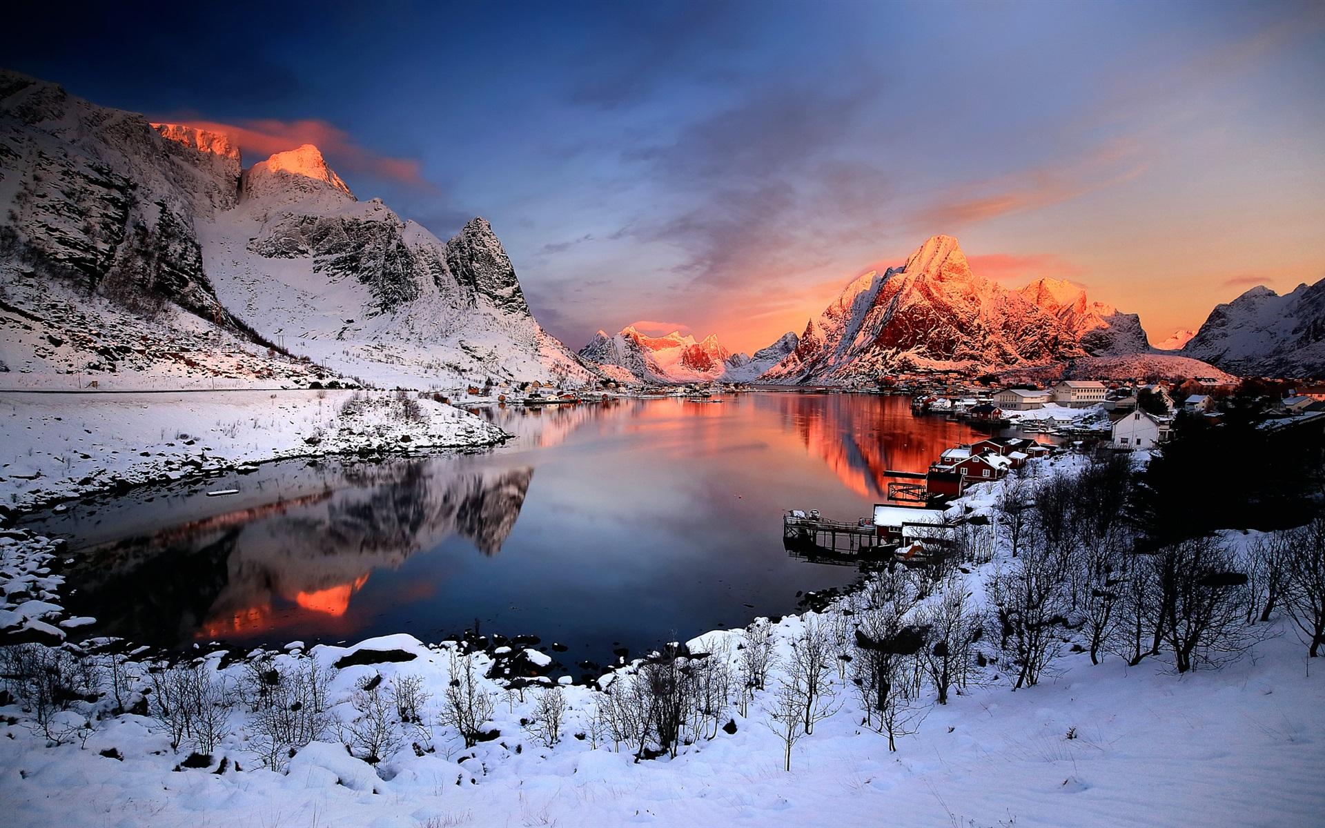 Lago Con Montañas Nevadas Hd: Fondos De Pantalla Noruega Puesta De Sol Invierno, Nieve