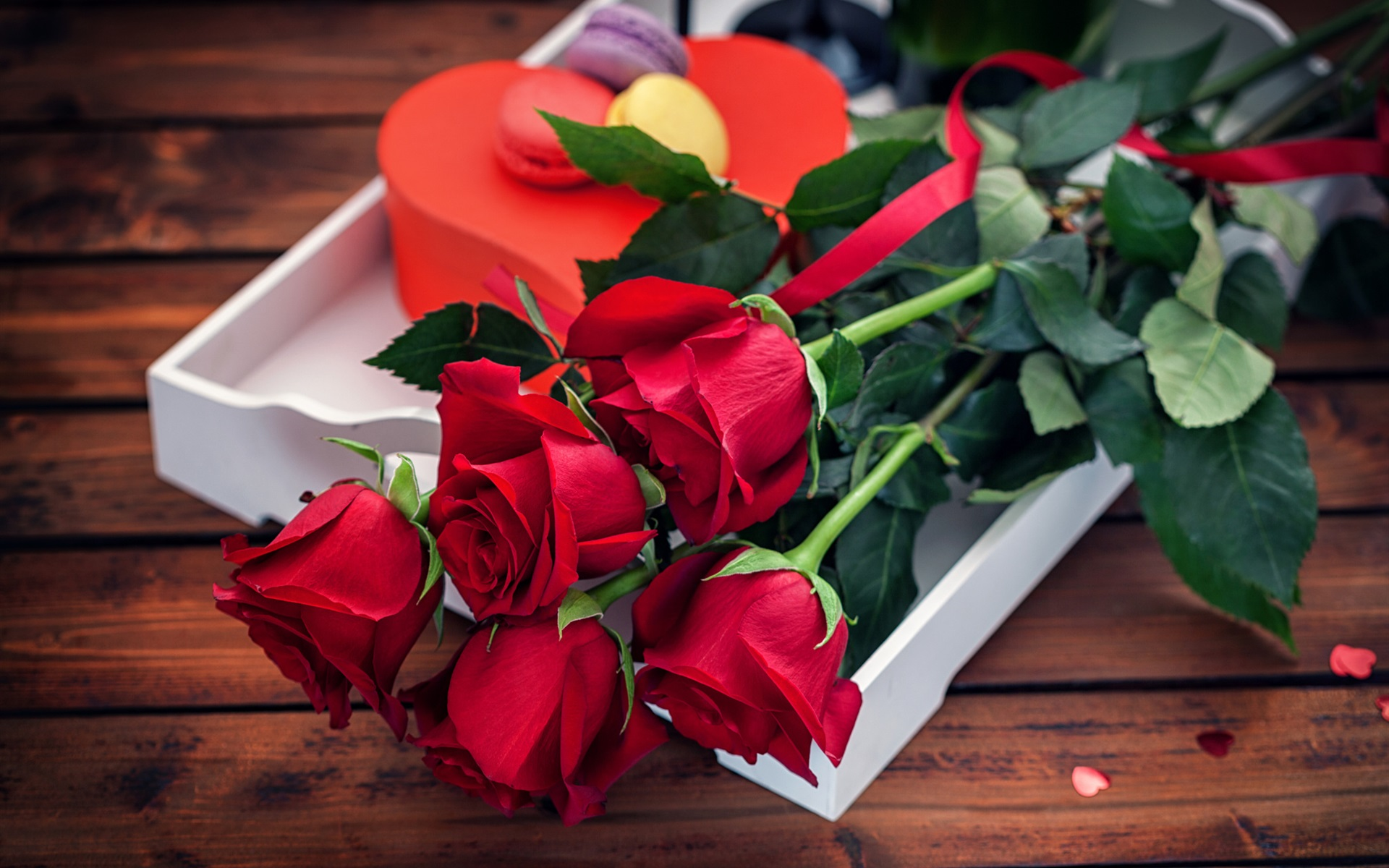 Wallpaper Red Rose Flowers Bouquet Gift Romantic 1920x1200 Hd