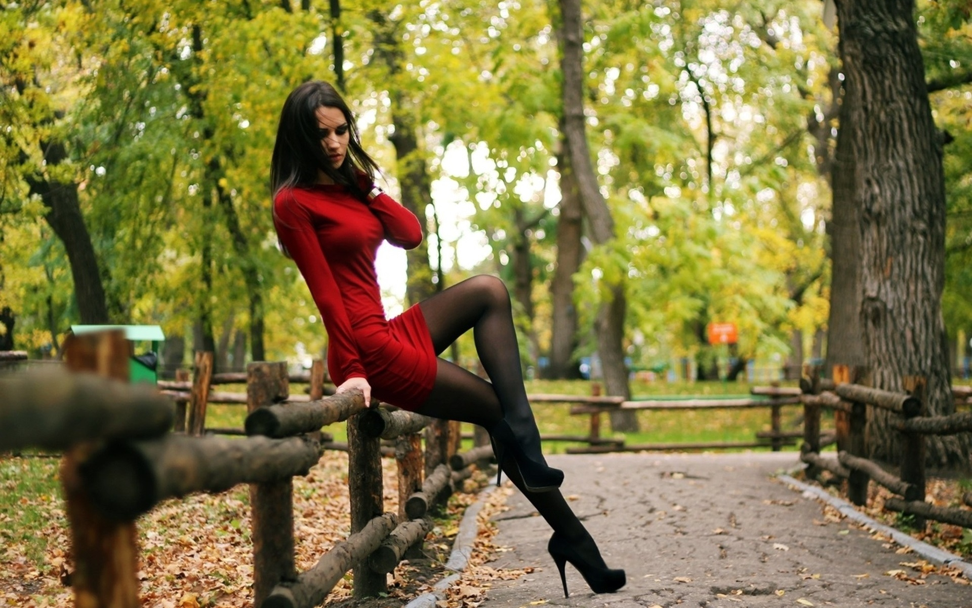 Wallpaper Sexy Red Dress Girl Stockings Park Trees