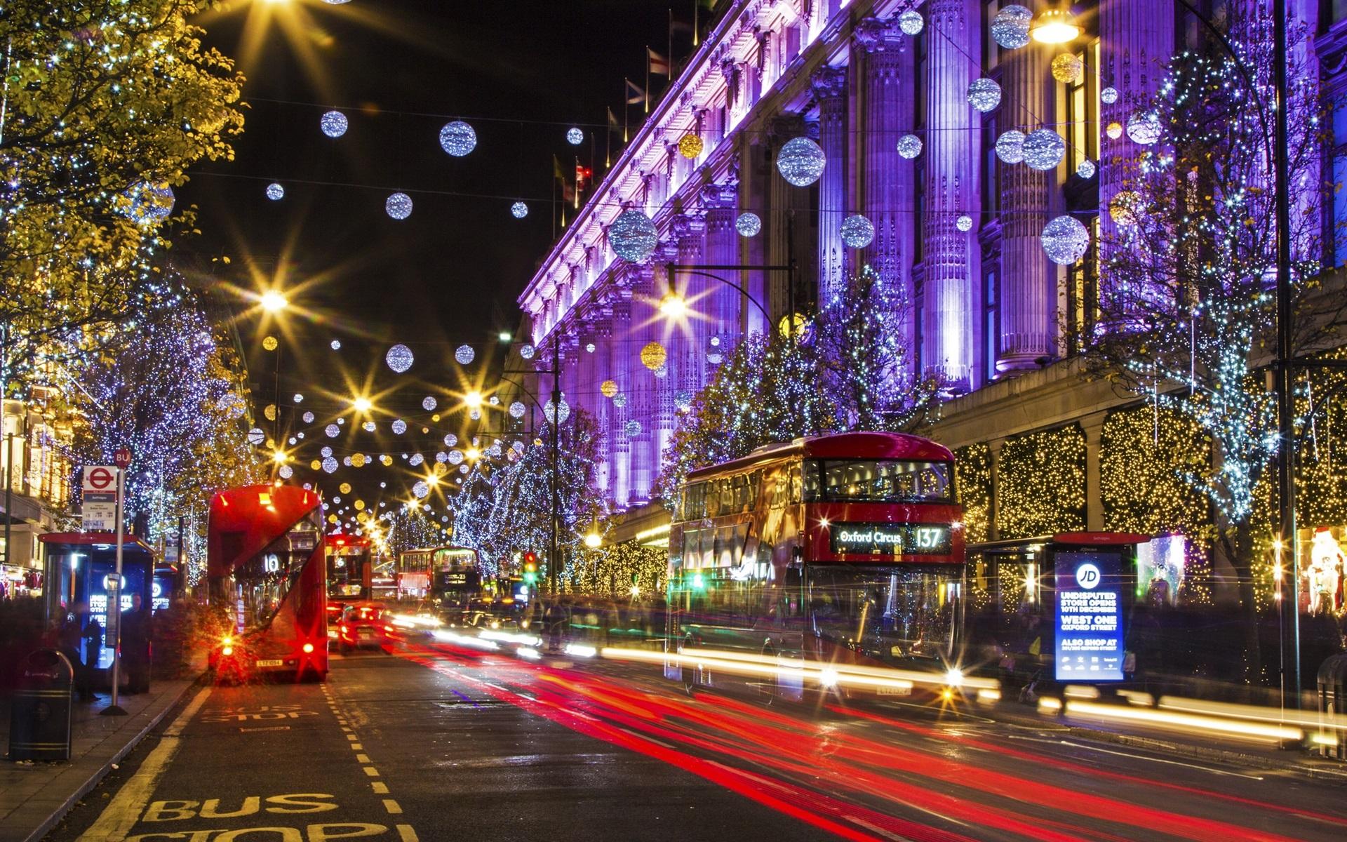 wallpaper london, england, city street, christmas, holiday lights