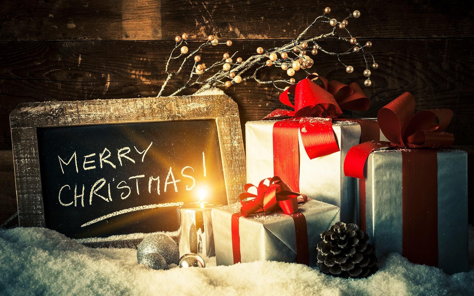 Hintergrundbilder Frohe Weihnachten.Frohe Weihnachten Geschenke Kerzenlicht Schnee 1920x1200